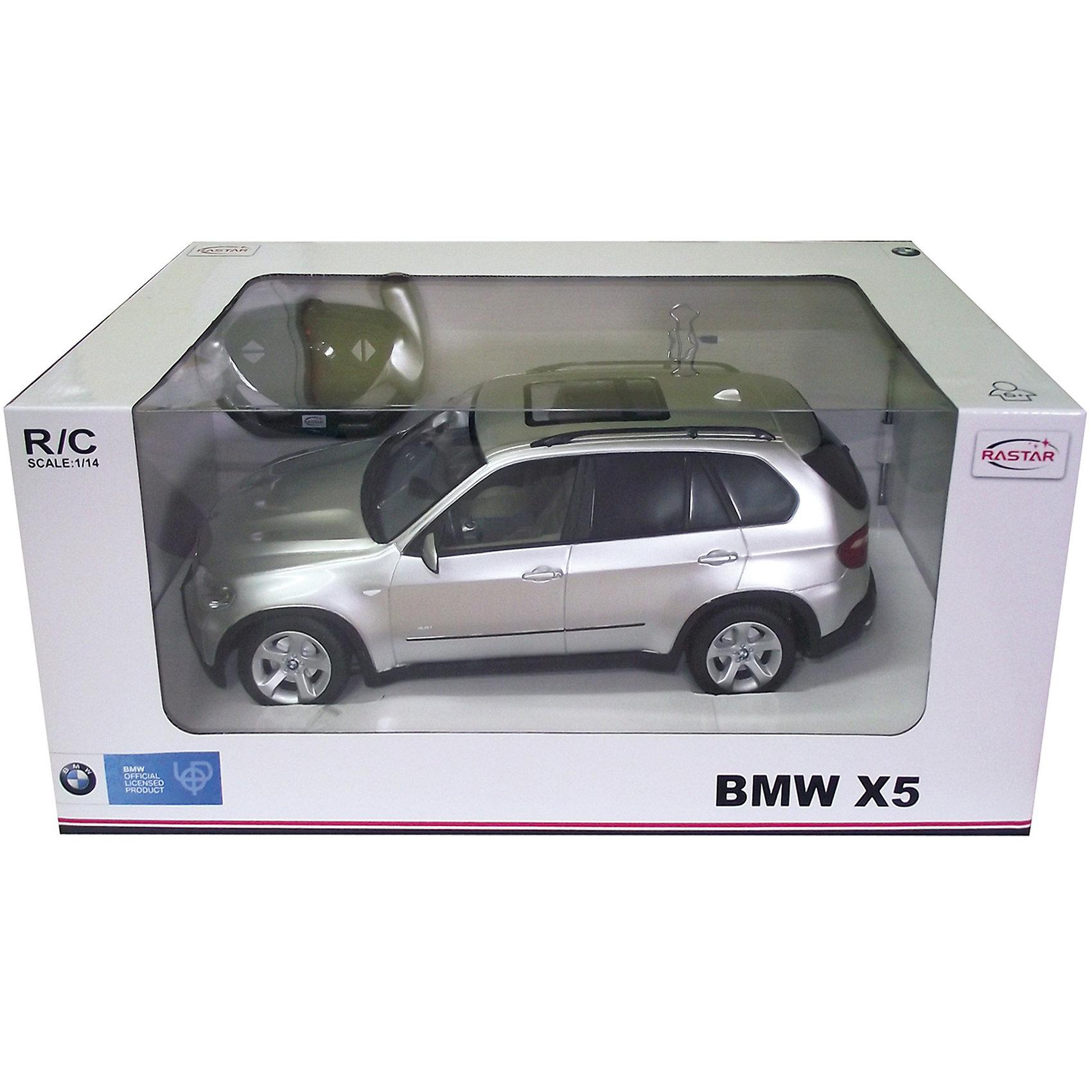 RASTAR Радиоуправляемая машина BMW X5 1:14RASTAR Радиоуправляемая машина BMW X5 1:14 - игрушка, которая наверняка приведет в восторг вашего ребенка, ведь эта радиоуправляемая машина - уменьшенная копия настоящего БМВ! <br><br>Модель выполнена в масштабе 1:14.<br><br>Особенности игрушки:<br><br>- Работает на частоте: 27MHz; <br>- Движение вперед, назад, вправо, влево; <br>- Контроль управления: 15 - 45 метров; <br>- Развивает скорость до: 7 км/ч; <br>- Светятся фары. <br><br><br>Дополнительная информация:<br><br>- Для работы требуются батарейки: 5 Х АА (не входят в комплект).<br>- Материалы: пластик.<br>- Размер упаковки: 43х22,5х19,5 см.<br>- Вес: 1330 г.<br><br>Ширина мм: 430<br>Глубина мм: 225<br>Высота мм: 195<br>Вес г: 1330<br>Возраст от месяцев: 72<br>Возраст до месяцев: 1188<br>Пол: Мужской<br>Возраст: Детский<br>SKU: 2557183