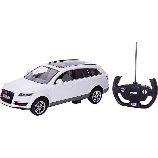 RASTAR Радиоуправляемая машина Audi Q7 1:14Радиоуправляемые машины<br>RASTAR Радиоуправляемая машина Audi Q7 1:14, в ассортименте - игрушка, которая наверняка приведет в восторг юного любителя  взрослых автомобилей: эта радиоуправляемая машина - уменьшенная копия настоящей Ауди! <br><br>Модель выполнена в масштабе 1: 14.<br><br>Особенности игрушки:<br><br>- Работает на частоте: 27MHz; <br>- Движение вперед, назад, вправо, влево; <br>- Контроль управления: 15 - 45 метров; <br>- Развивает скорость до: 7 км/ч; <br>- Светятся фары. <br><br><br>Дополнительная информация:<br><br><br>- Для работы требуются батарейки: 5 Х АА, 6F/22<br>(не входят в комплект).<br>- Материалы: пластмасса, металл.<br>- Размер: 30,7 х 13,6 х 8,5 см.<br>- Размер упаковки: 43 х 22,5 х 17,5 см.<br>- Вес: 1,16 кг.<br>ВНИМАНИЕ! Данный товар представлен в ассортименте и отличается цветовым исполнением (варианты цветового исполнения - оранжевый, желтый и черный). Предварительный выбор определенного цветового исполнения артикула, к сожалению, невозможен. При заказе нескольких единиц данного товара, возможно получение одинаковых.<br><br>Ширина мм: 455<br>Глубина мм: 215<br>Высота мм: 195<br>Вес г: 1640<br>Возраст от месяцев: 72<br>Возраст до месяцев: 1188<br>Пол: Мужской<br>Возраст: Детский<br>SKU: 2557185