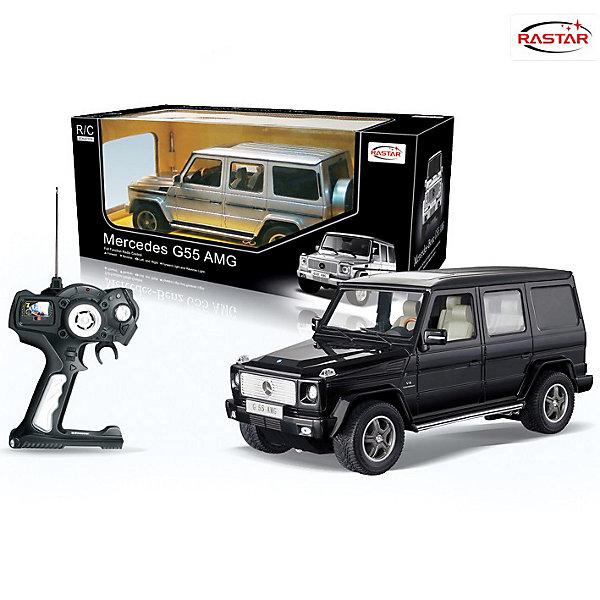 RASTAR Радиоуправляемая машина Mersedes G55 AMG 1:14, 30 см.Радиоуправляемые машины<br>RASTAR Радиоуправляемая машина Mercedes G55 AMG 1:14, 30 см., в ассортименте - игрушка, которая наверняка приведет в восторг вашего ребенка, ведь эта радиоуправляемая машина - уменьшенная копия настоящего Мерседеса! <br><br>Модель выполнена в масштабе 1: 14.<br><br>Особенности игрушки:<br><br>- Работает на частоте: 27MHz; <br>- Движение вперед, назад, вправо, влево; <br>- Контроль управления: 15 - 45 метров; <br>- Развивает скорость до: 7 км/ч; <br>- Светятся фары. <br><br>Дополнительная информация:<br><br>- Размер игрушки: 30 см.<br>- Для работы требуются батарейки: 5 Х АА (не входят в комплект).<br>- Материалы: металл, пластмасса.<br>- Размер упаковки: 45,5х21,5х19,5 см.<br>- Вес: 1380 г.<br>ВНИМАНИЕ! Данный товар представлен в ассортименте и отличается вариантами цветового исполнения (черный, серебристый). Предварительный выбор, к сожалению, невозможен. При заказе нескольких артикулов, возможно получение одинаковых.<br>Ширина мм: 455; Глубина мм: 215; Высота мм: 195; Вес г: 1380; Возраст от месяцев: 72; Возраст до месяцев: 1188; Пол: Мужской; Возраст: Детский; SKU: 2557186;