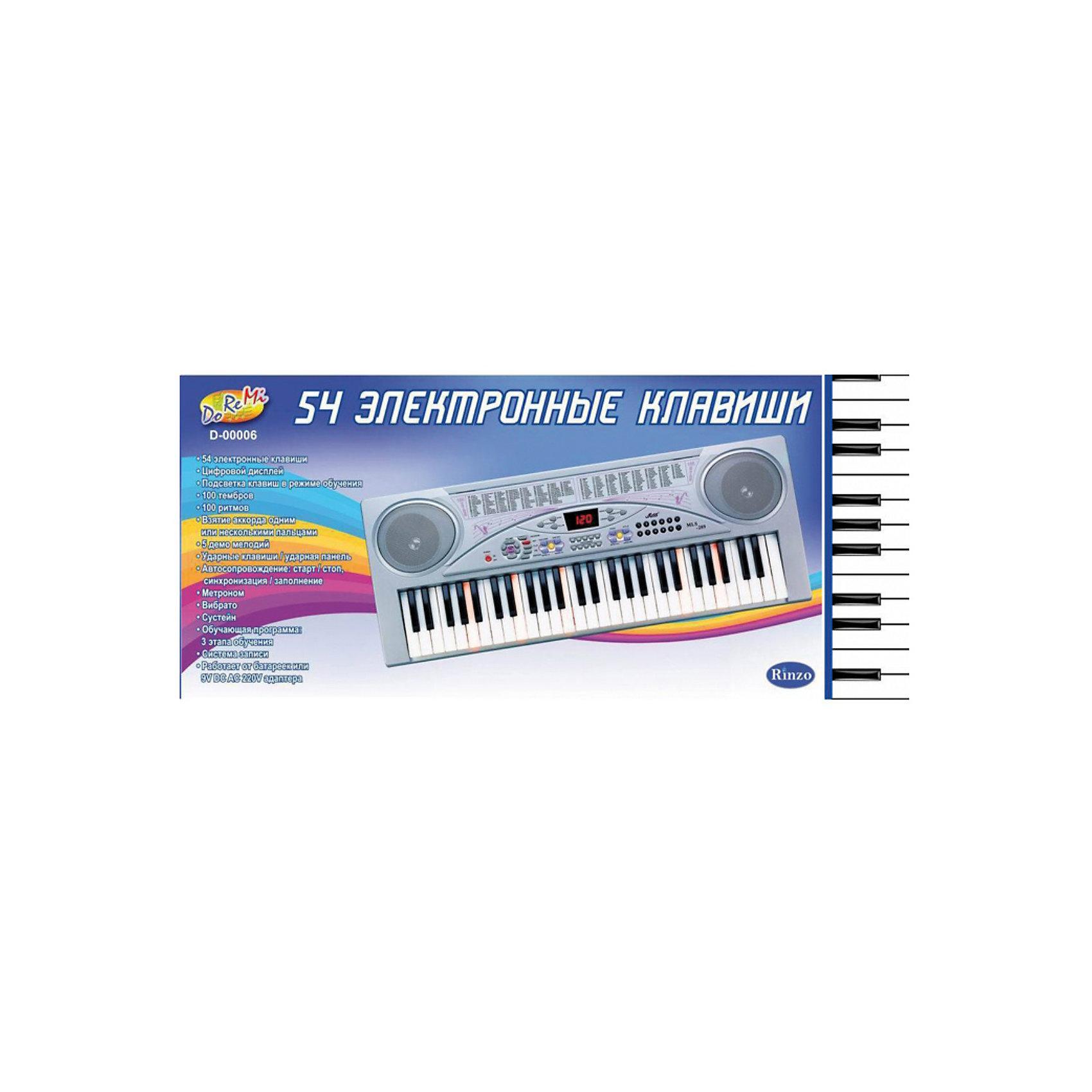DoReMi Синтезатор с микрофоном, 54 клавишиDoReMi Синтезатор с микрофоном, 54 клавиши  -  синтезатор со множеством функций и возможностей для исполнения любимых музыкальных произведений.<br><br>Особенности модели:<br><br>- 54 эллектронные клавиши<br>- 6 демо песен<br>-16 тональностей, 16 ритмов<br>- Программировние ритма, запись и воспроизведение<br>- 8 Ударных режимов<br>- Контроль громкости<br><br>Дополнительная информация:<br><br>- Работа: от 4 батареек типа АА (не входят в комплект) или DC6V адаптора (входит в комплект)<br>- Размеры, ДхШхВ:  86х12х38 см.<br>- Вес: 4,674 кг.<br><br>Ширина мм: 860<br>Глубина мм: 120<br>Высота мм: 380<br>Вес г: 4674<br>Возраст от месяцев: 60<br>Возраст до месяцев: 1188<br>Пол: Унисекс<br>Возраст: Детский<br>SKU: 2557192