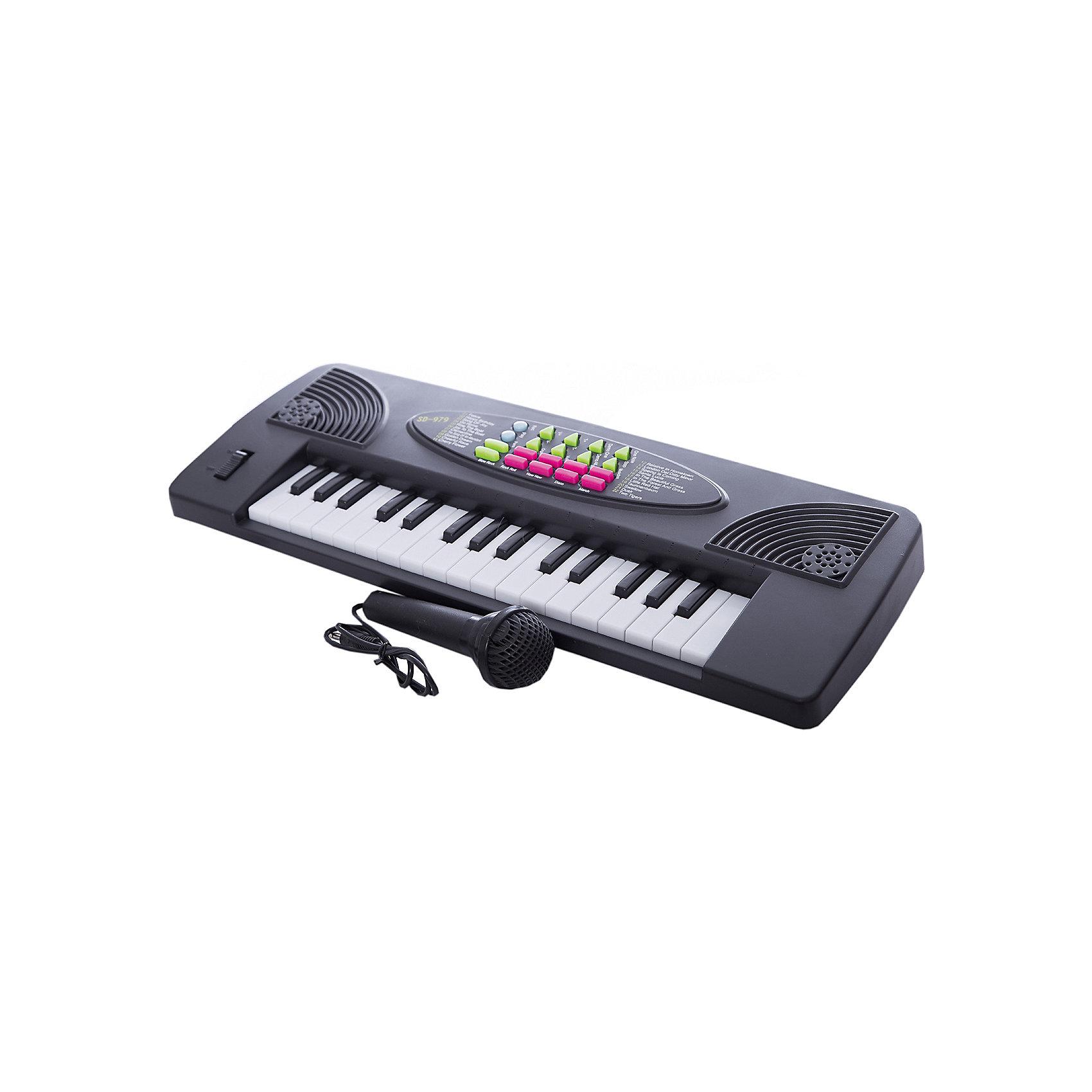 DoReMi Синтезатор с микрофоном, 32 клавишиМузыкальные инструменты и игрушки<br>DoReMi Синтезатор с микрофоном, 32 клавиши - детский электронный синтезатор с микрофоном, оснащённый встроенным звуковым модулем и имеющий многие интересные функции.  <br><br>Особенности модели:<br><br>- 32 электронные клавиши;<br>- 4 звука музыкальных инструментов;<br>- 4 звука электронной барабанной установки;<br>- 4 звука животных;<br>- 4 темпа ритма;<br>- 15 демонстрационных песен;<br>- контроль громкости и темпа;<br>- автоматическое выключение;<br>- запись и воспроизведение;<br>- микрофон.<br><br>Дополнительная информация:<br><br>- Работает от 4 батареек типа АА (не входят в комплект) или DC6V адаптора (входит в комплект).<br>- Размеры: 44,5x5,5x15,5 см.<br>- Вес: 600 г.<br>- Цвет: черный.<br><br>Ширина мм: 445<br>Глубина мм: 55<br>Высота мм: 155<br>Вес г: 510<br>Возраст от месяцев: 60<br>Возраст до месяцев: 1188<br>Пол: Унисекс<br>Возраст: Детский<br>SKU: 2557195