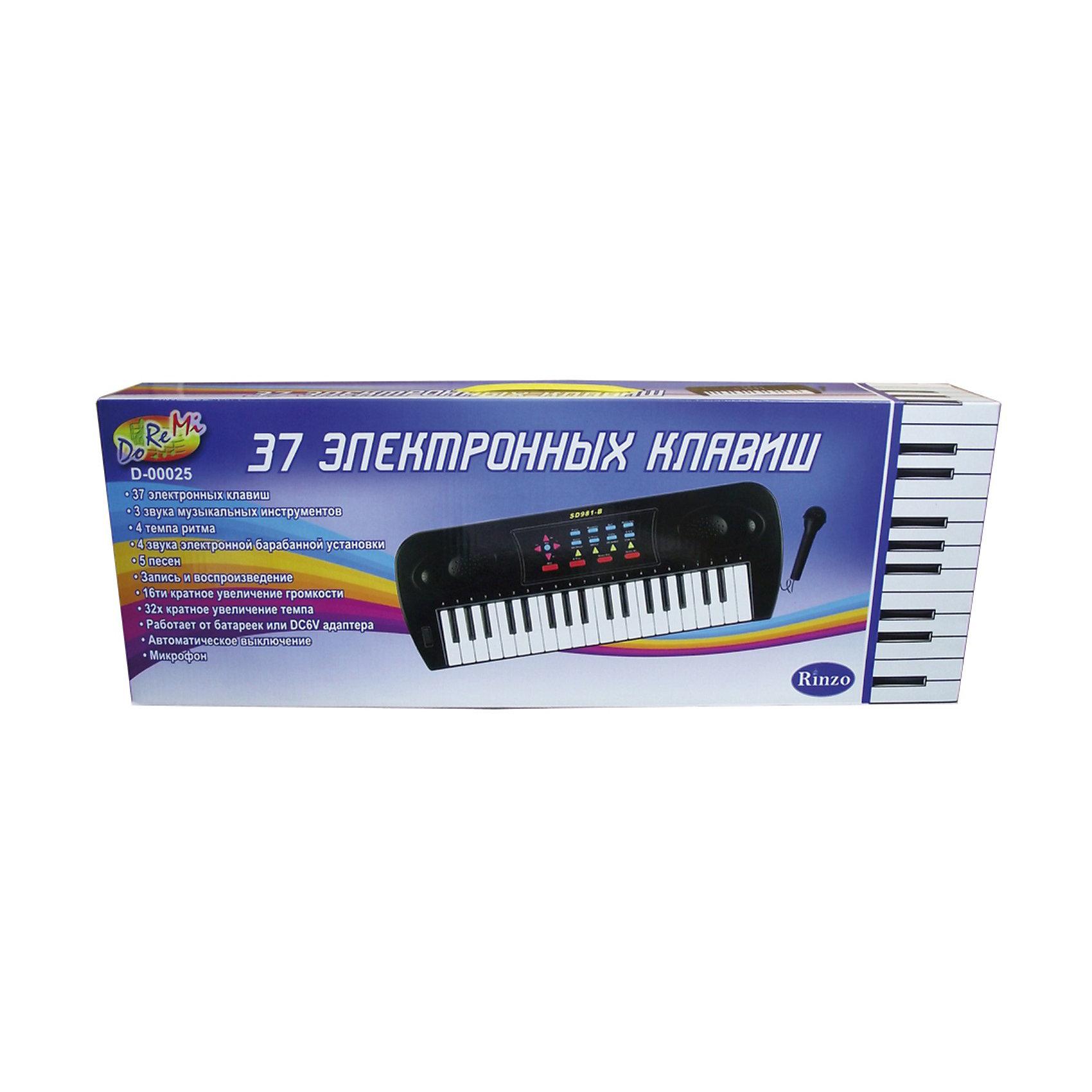 DoReMi Синтезатор с микрофоном, 37 клавишМузыкальные инструменты и игрушки<br>DoReMi Синтезатор с микрофоном, 37 клавиш - электронно-механический синтезатор с микрофоном и 37 клавишами - отличный подарок для всех юных музыкантов.<br><br>Яркий синтезатор DoReMi привлечет внимание вашего ребенка и доставит ему много удовольствия от часов, посвященных игре с ним. Синтезатор имеет 37 музыкальных клавиш и множество кнопок, позволяющих добавлять различные звуковые эффекты при составлении мелодий, менять темп и ритм музыки. Кроме того, имеется возможность записи мелодий. <br>В комплекте с синтезатором идет микрофон. <br><br>С помощью этого синтезатора ребенок сможет развить свои музыкальные способности и порадовать близких великолепным концертом.   <br><br>Дополнительная информация:<br><br>- Размеры: 53 x 6 x 19,2 см.<br>- Батарейки: 6 х АА.<br>- Вес: 920 г.<br><br>Ширина мм: 530<br>Глубина мм: 60<br>Высота мм: 192<br>Вес г: 920<br>Возраст от месяцев: 60<br>Возраст до месяцев: 1188<br>Пол: Унисекс<br>Возраст: Детский<br>SKU: 2557196