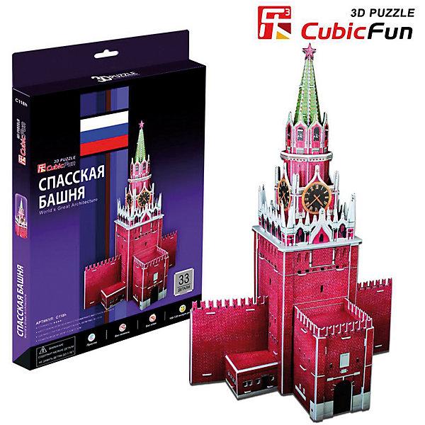 Пазл 3D Спасская башня, 33 детали, CubicFun3D пазлы<br>Спасская Башня - 3D пазл от Cubic Fun, позволяющий создать объемный макет одной из важнейших достопримечательностей Москвы - Спасской Башни.<br><br>Спасская Башня -  великолепное башенное сооружение, построенное в 1491 году и прочно ассоциирующееся у всех образованных людей с Красной Площадью Москвы.<br><br><br>Практические характеристики Пазла:<br><br>— обучающая, яркая и реалистичная модель;<br>— идеально и легко собирается без инструментов;<br>— увлекательный игровой процесс;<br>— тематический ассортимент;<br>— новый качественный материал (ламинированный пенокартон).<br><br>Дополнительная информация:<br><br><br>- 3D пазл.<br>- Кол-во элементов: 35 шт.<br>- Материал: картон<br>- Размеры упаковки: 220*330*20мм.<br>- Вес: 339 г.<br><br>Ширина мм: 220<br>Глубина мм: 330<br>Высота мм: 20<br>Вес г: 339<br>Возраст от месяцев: 60<br>Возраст до месяцев: 1188<br>Пол: Унисекс<br>Возраст: Детский<br>SKU: 2559035