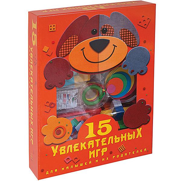 15 увлекательных игр для малышей и их родителейИзучаем цвета и формы<br>Набор 15 увлекательных игр содержит различные игры для малышей и родителей. <br><br>В этом наборе есть игры на логику, интеллект, знание форм и многое другое. Подобные игры помогают развиваться ребёнку и приобретать различные навыки. <br><br>Дополнительная информация:<br><br>- В комплекте: книга-инструкция с цветными иллюстрациями, двустороннее игровое поле, 48 фишек, 16 карточек, 2 картонных кубика, резиновые кружочки, 8 деревянных фигурок, головоломки Крест и Кольца.<br>- Количество страниц: 64<br><br>Ширина мм: 350<br>Глубина мм: 65<br>Высота мм: 260<br>Вес г: 700<br>Возраст от месяцев: 60<br>Возраст до месяцев: 120<br>Пол: Унисекс<br>Возраст: Детский<br>SKU: 2559263