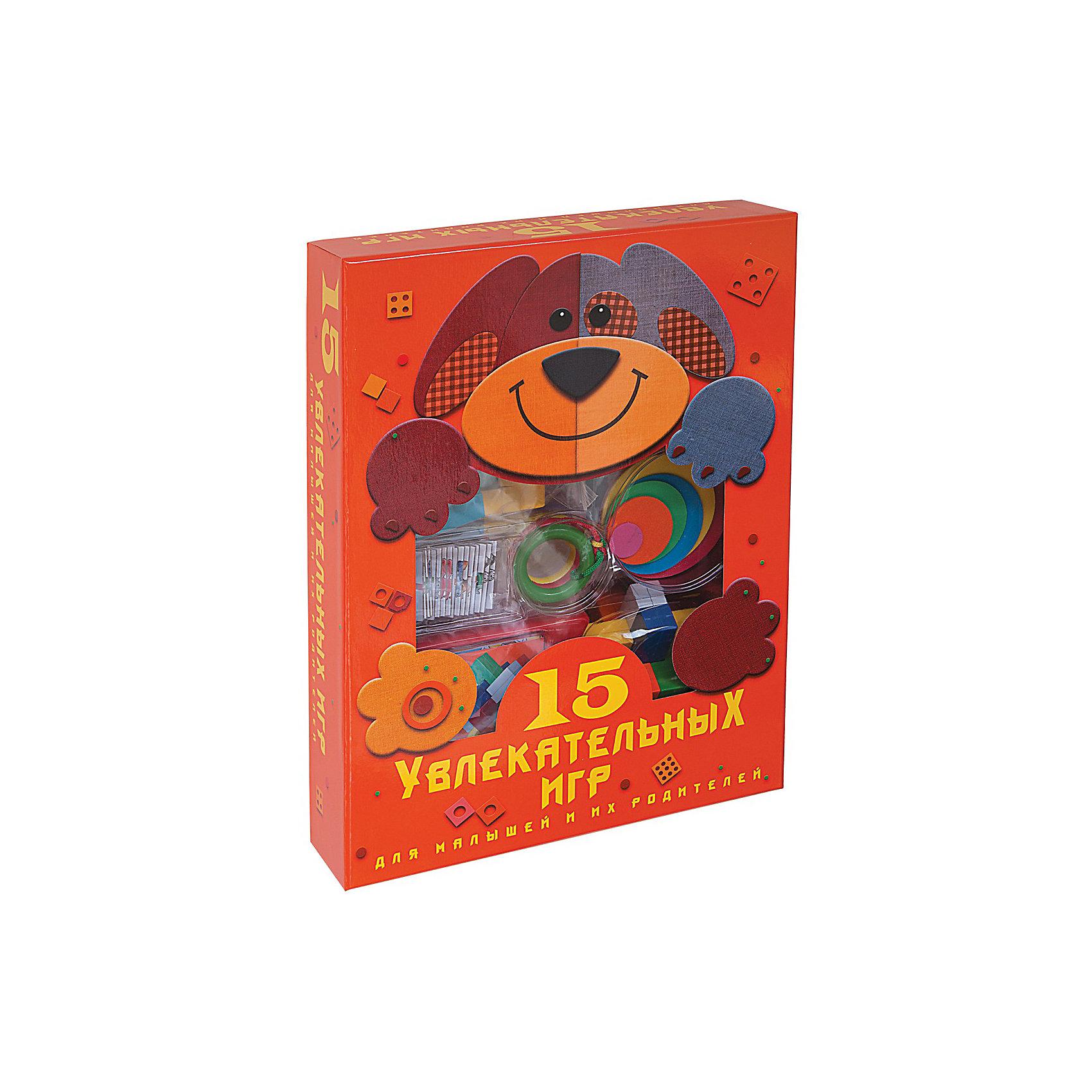 15 увлекательных игр для малышей и их родителейРазвивающие игры<br>Набор 15 увлекательных игр содержит различные игры для малышей и родителей. <br><br>В этом наборе есть игры на логику, интеллект, знание форм и многое другое. Подобные игры помогают развиваться ребёнку и приобретать различные навыки. <br><br>Дополнительная информация:<br><br>- В комплекте: книга-инструкция с цветными иллюстрациями, двустороннее игровое поле, 48 фишек, 16 карточек, 2 картонных кубика, резиновые кружочки, 8 деревянных фигурок, головоломки Крест и Кольца.<br>- Количество страниц: 64<br><br>Ширина мм: 350<br>Глубина мм: 65<br>Высота мм: 260<br>Вес г: 700<br>Возраст от месяцев: 60<br>Возраст до месяцев: 120<br>Пол: Унисекс<br>Возраст: Детский<br>SKU: 2559263