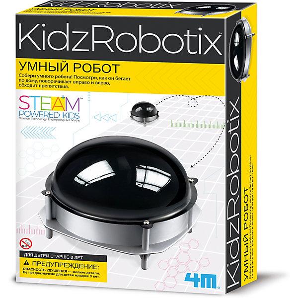 4M 00-03272 Умный роботРоботы-игрушки<br>Собери своего личного умного робота! Наблюдай, как он перемещается по дому, и словно по волшеству, повораивает направо и налево при ударах о препятствия. Ты даже можешь сделать лабиринт и проследить, сумеет ли умный робот скрыться.<br><br>Дополнительная информация:<br><br>- для работы робота требуется 1 батарейка АA (в комплект не входит)<br>- в комплекте: крышка, подставка, большая ось, маленькая ось, металлический грузик, крышка для батарейного отсека, корпус для мотора, крышка корпуса мотора, мотор, винты, зажимы, 2 полусферы, инструкция.<br>- размеры деталей от 1 до 12 см<br><br>4M 00-03272 Умного робота можно купить в нашем магазине.<br><br>Ширина мм: 235<br>Глубина мм: 135<br>Высота мм: 65<br>Вес г: 200<br>Возраст от месяцев: 96<br>Возраст до месяцев: 192<br>Пол: Унисекс<br>Возраст: Детский<br>SKU: 2568332