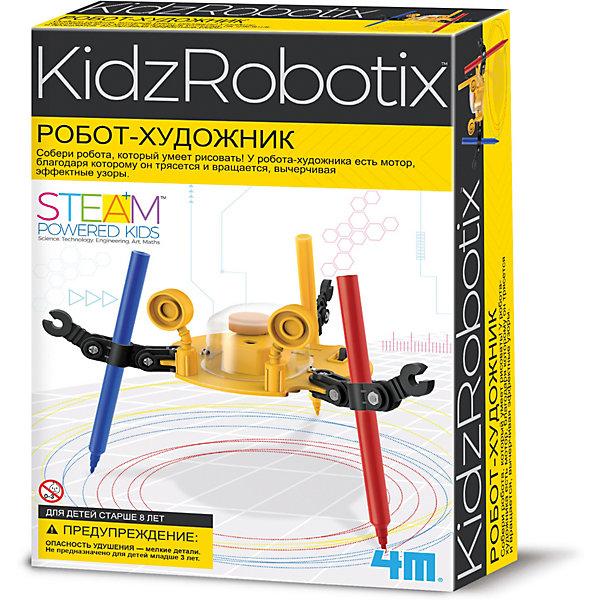 4M 00-03280 Робот художникРоботы-игрушки<br>Собери робота, который умеет рисовать! У робота-художника есть мотор, благодаря которому он трясется и вращается, вычерчивая эффектные узоры. Вынь фломастеры и теперь это классный виброробот, который скользит по гладкой поверхности.<br><br>Ширина мм: 235<br>Глубина мм: 135<br>Высота мм: 65<br>Вес г: 200<br>Возраст от месяцев: 96<br>Возраст до месяцев: 192<br>Пол: Унисекс<br>Возраст: Детский<br>SKU: 2568339