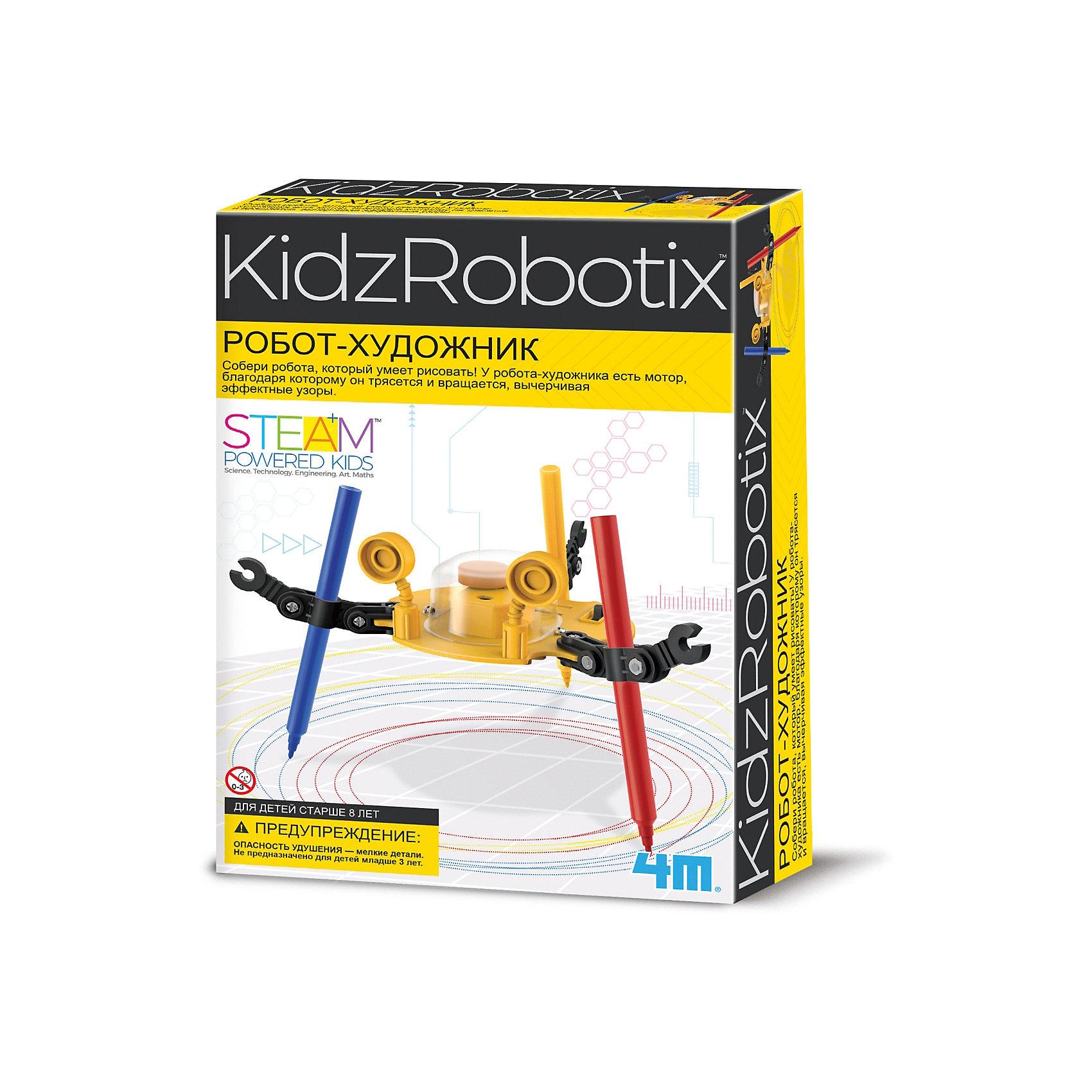 4M 00-03280 Робот художникРоботы<br>Собери робота, который умеет рисовать! У робота-художника есть мотор, благодаря которому он трясется и вращается, вычерчивая эффектные узоры. Вынь фломастеры и теперь это классный виброробот, который скользит по гладкой поверхности.<br><br>Ширина мм: 235<br>Глубина мм: 135<br>Высота мм: 65<br>Вес г: 200<br>Возраст от месяцев: 96<br>Возраст до месяцев: 192<br>Пол: Унисекс<br>Возраст: Детский<br>SKU: 2568339