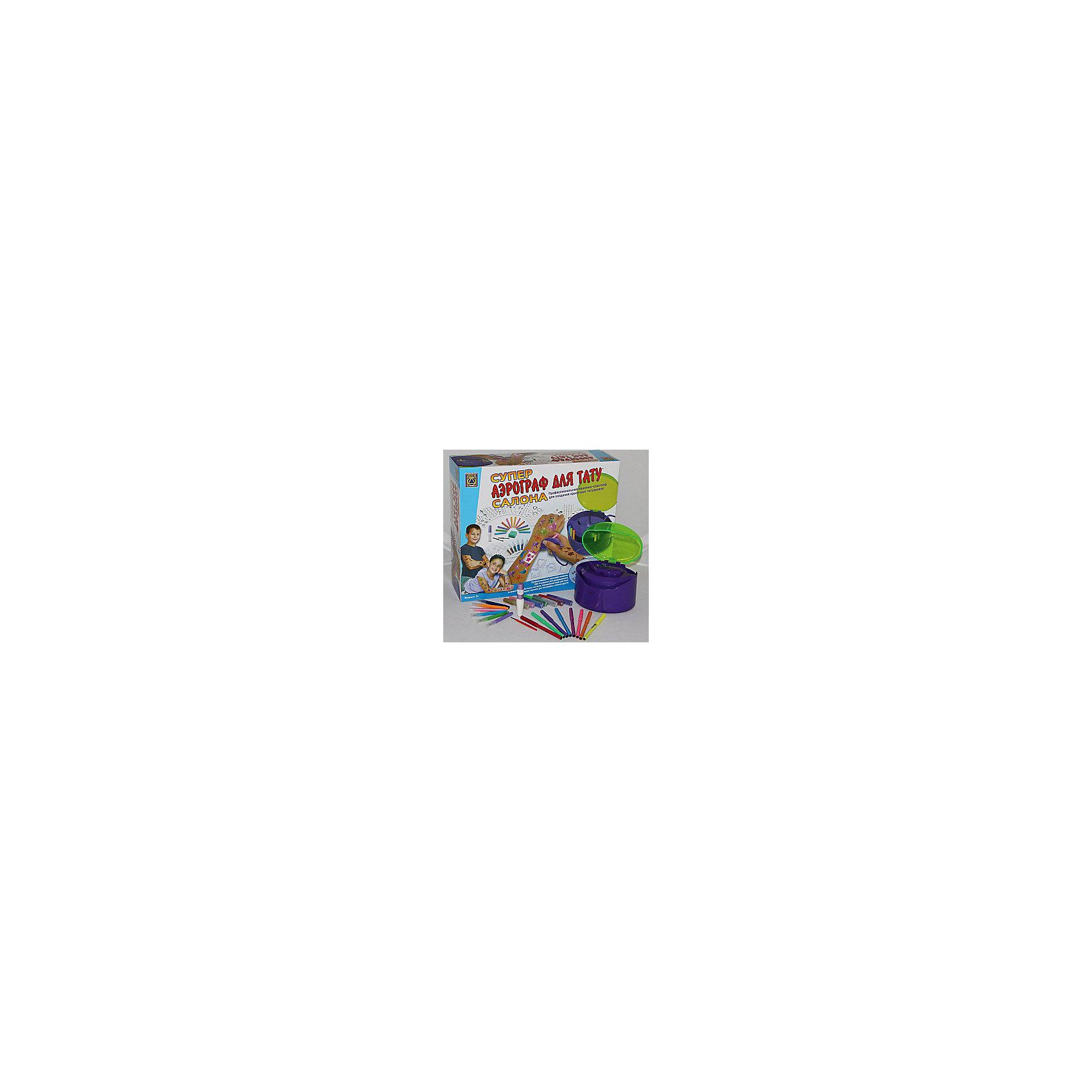 Супер аэрограф для тату салона, CreativeКосметика, грим и парфюмерия<br>Супер аэрограф для тату салона, Creative - этонабор для творчества, с помощью которого, распыляя специальные краски, можно сделать различные рисунки. С помощью этого набора ребенок почувствует себя настоящим мастером тату-салона. Игра способствует развитию у ребенка творческих способностей.<br><br>Дополнительная информация:<br><br>В комплекте:<br>- пластиковый аэрограф (корпус, крышка, ручка включения с отверстием распыления);<br>- 12 специальных маркеров для распыления краски;<br>- 8 маркеров для татуировки;<br>- 260 рисунков для татуировок на 10 листах;<br>набор блесток из 14 тюбиков в семи различных цветах с двумя кисточками;<br>- клей для тела - 2 флакона;<br>- 160 наклеек различной конфигурации на 8 листах;<br>- губка;<br>- инструкция.<br>- Для работы необходимы батарейки: 4 шт. типа С - 1,5 V (не входят в комплект).<br>- Материал: пластик, бумага, ПВХ.<br>- Длина большого маркера: 13 см.<br>- Длина меньшего маркера: 9 см.<br>- Объем тюбика с клеем: 10 мл.<br>- Размер машинки: 15х13x10 см.<br>- Размер упаковки: 40,5х34x12 см.<br>- Вес: 1300 гр.<br><br>Супер аэрограф для тату салона, Creative можно купить в нашем магазине.<br><br>Ширина мм: 404<br>Глубина мм: 342<br>Высота мм: 119<br>Вес г: 500<br>Возраст от месяцев: 72<br>Возраст до месяцев: 180<br>Пол: Женский<br>Возраст: Детский<br>SKU: 2568351