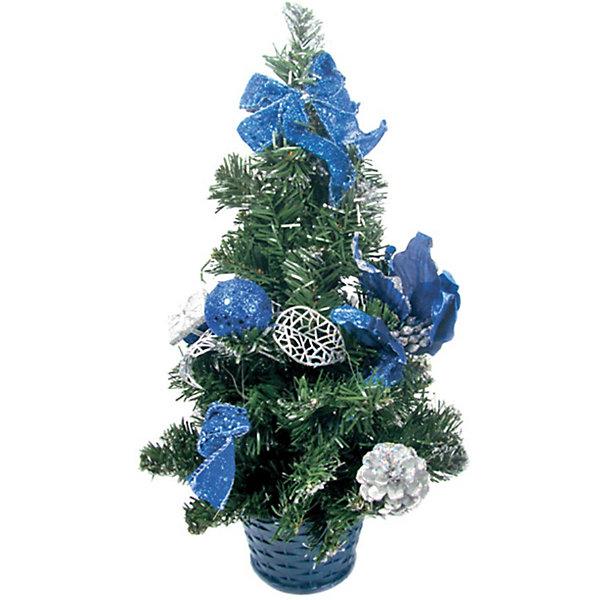 Елка декоративная с синими украшениями, 40 см., TUKZARИскусственные ёлки<br>Елка декоративная с синими украшениями, 40 см.<br>Эта ёлка отлично подойдет для тех, кто ищет альтернативу живым ёлкам. Благодаря компактному размеру ёлку можно поставить в любой комнате. Ёлка украшена красивыми игрушками - бантами, цветами, шариками и шишками. Под такой ёлкой Деду Морозу обязательно захочется оставить желанные подарки!  <br><br>Дополнительная информация:  <br>Высота ёлки: 40 см.<br>Размер упаковки (д/ш/в): 30х20х40 см.<br>Ширина мм: 200; Глубина мм: 200; Высота мм: 400; Вес г: 312; Возраст от месяцев: 36; Возраст до месяцев: 180; Пол: Унисекс; Возраст: Детский; SKU: 2572944;