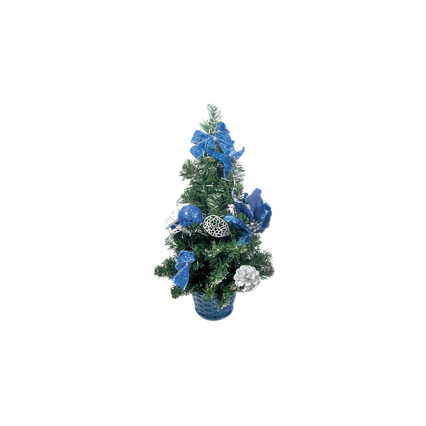 Елка декоративная с синими украшениями, 40 см., TUKZARВсё для праздника<br>Елка декоративная с синими украшениями, 40 см.<br>Эта ёлка отлично подойдет для тех, кто ищет альтернативу живым ёлкам. Благодаря компактному размеру ёлку можно поставить в любой комнате. Ёлка украшена красивыми игрушками - бантами, цветами, шариками и шишками. Под такой ёлкой Деду Морозу обязательно захочется оставить желанные подарки!  <br><br>Дополнительная информация:  <br>Высота ёлки: 40 см.<br>Размер упаковки (д/ш/в): 30х20х40 см.<br><br>Ширина мм: 200<br>Глубина мм: 200<br>Высота мм: 400<br>Вес г: 312<br>Возраст от месяцев: 36<br>Возраст до месяцев: 180<br>Пол: Унисекс<br>Возраст: Детский<br>SKU: 2572944