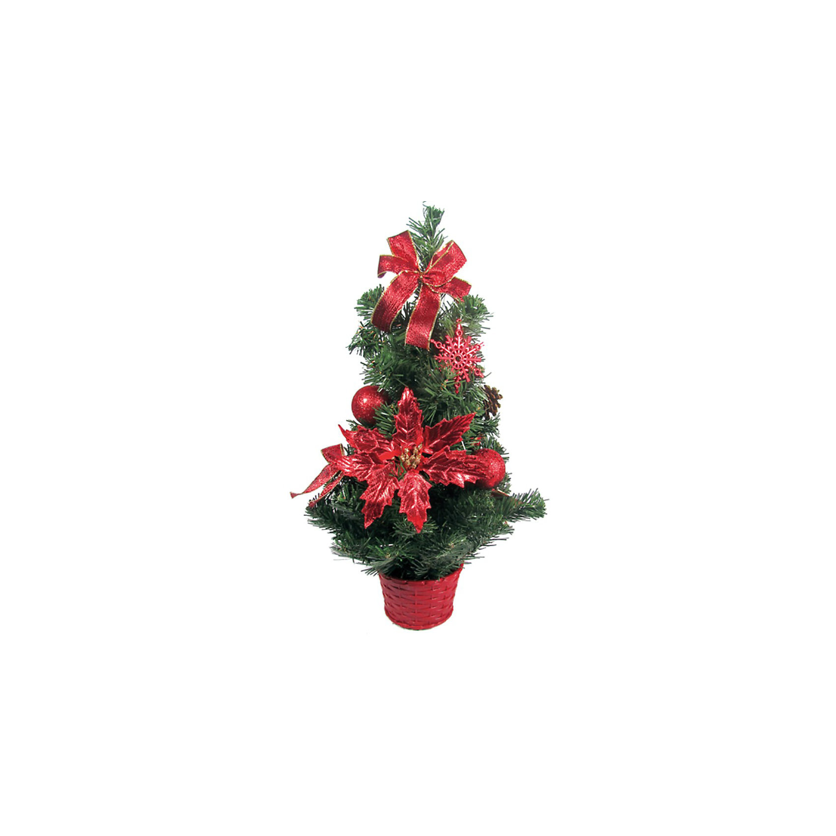 Елка декоративная с красными украшениями, 50 смЕлка декоративная с красными украшениями, 50 см.<br>Эта ёлка отлично подойдет для тех, кто ищет альтернативу живым ёлкам. Благодаря компактному размеру ёлку можно поставить в любой комнате. Ёлка украшена красивыми игрушками - бантами, цветами, шариками и шишками. Под такой ёлкой Деду Морозу обязательно захочется оставить желанные подарки!  <br><br>Дополнительная информация:  <br>Высота ёлки: 50 см.<br>Размер упаковки (д/ш/в): 30х20х50 см.<br><br>Ширина мм: 300<br>Глубина мм: 200<br>Высота мм: 500<br>Вес г: 500<br>Возраст от месяцев: 36<br>Возраст до месяцев: 180<br>Пол: Унисекс<br>Возраст: Детский<br>SKU: 2572945