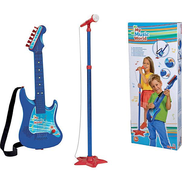 Гитара + микрофон, SimbaДетские музыкальные инструменты<br>Характеристики:<br><br>• в комплекте: гитара, стойка, микрофон, ремень для гитары, инструкция;<br>• встроенный динамик;<br>• регулируемая громкость;<br>• есть возможность подтянуть струны;<br>• материал: пластик;<br>• батарейки: АА - 3 шт. (не входят в комплект);<br>• длина гитары: 62 см;<br>• размер упаковки: 64х26,5х7,5 см;<br>• вес: 1,03 кг;<br>• страна бренда: Германия.<br><br>Микрофон и гитара - то, что нужно начинающему артисту. Комплект от Simba состоит из гитары с ремнем и стойки с микрофоном. Форма гитары удобна для детских рук, что обязательно порадует юную звезду.<br><br>Гитара оснащена встроенным динамиком, соединенным с микрофоном. Когда артист будет петь - его голос будет звучать через динамик гитары. Громкость звука можно регулировать по вашему усмотрению.<br><br>Игрушки изготовлены из прочного пластика, окрашенного безопасными красителями.<br><br>Гитару + микрофон, Simba (Симба) можно купить в нашем интернет-магазине.<br><br>Ширина мм: 646<br>Глубина мм: 264<br>Высота мм: 76<br>Вес г: 973<br>Возраст от месяцев: 48<br>Возраст до месяцев: 2147483647<br>Пол: Унисекс<br>Возраст: Детский<br>SKU: 2575194
