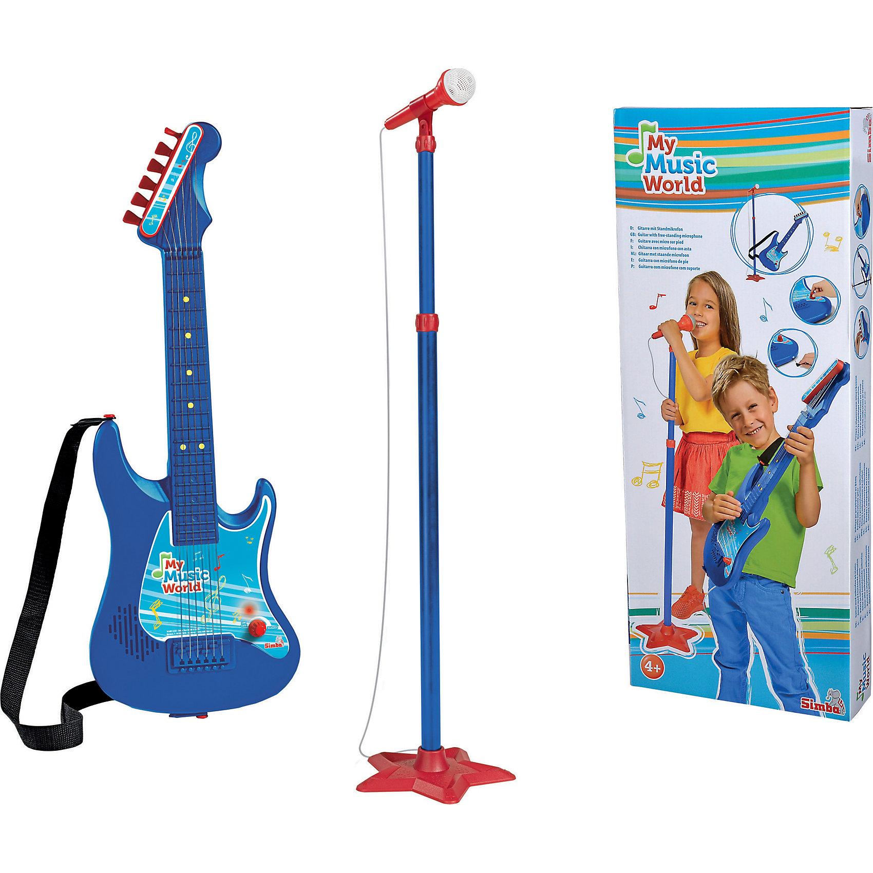 Гитара + микрофон, SimbaДетские музыкальные инструменты<br>Характеристики:<br><br>• в комплекте: гитара, стойка, микрофон, ремень для гитары, инструкция;<br>• встроенный динамик;<br>• регулируемая громкость;<br>• есть возможность подтянуть струны;<br>• материал: пластик;<br>• батарейки: АА - 3 шт. (не входят в комплект);<br>• длина гитары: 62 см;<br>• размер упаковки: 64х26,5х7,5 см;<br>• вес: 1,03 кг;<br>• страна бренда: Германия.<br><br>Микрофон и гитара - то, что нужно начинающему артисту. Комплект от Simba состоит из гитары с ремнем и стойки с микрофоном. Форма гитары удобна для детских рук, что обязательно порадует юную звезду.<br><br>Гитара оснащена встроенным динамиком, соединенным с микрофоном. Когда артист будет петь - его голос будет звучать через динамик гитары. Громкость звука можно регулировать по вашему усмотрению.<br><br>Игрушки изготовлены из прочного пластика, окрашенного безопасными красителями.<br><br>Гитару + микрофон, Simba (Симба) можно купить в нашем интернет-магазине.<br><br>Ширина мм: 648<br>Глубина мм: 264<br>Высота мм: 73<br>Вес г: 972<br>Возраст от месяцев: 48<br>Возраст до месяцев: 2147483647<br>Пол: Унисекс<br>Возраст: Детский<br>SKU: 2575194