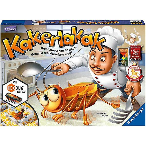 Игра Кукарача, RavensburgerХиты продаж<br>Игра Кукарача - еще одна оригинальная новинка от немецкого бренда Ravensburger. Эта смешная и занимательная интерактивная игра доставит много радости как детям, так и взрослым!<br><br>Тревога, тревога! На кухне завелись... тараканы! Рыжие и усатые, они выползают из своих щелей, когда выключается свет, и разносят грязь по квартире. Необходимо как можно скорее от них избавиться! Нельзя терять ни минуты! <br><br>Перемещая на игровом поле столовые приборы, игроки должны загнать шустрого насекомого в лунку. Бросая кубик, участники узнают, какой из предметов - вилку, нож или ложку - можно передвинуть. Имеется 4 варианта расположения игрового лабиринта.<br><br>За каждого пойманного таракана игрок получает одну фишку. Участник, собравший 5 фишек, становится победителем.<br><br>В игре Кукарача использованы уникальные чипы HEXBUG@ Nano — микророботы, которые повторяют поведение настоящих насекомых. Именно поэтому предугадать, куда в следующий момент побежит таракан, очень сложно. Нанороботы непредсказуемы: они запрограммированы на то, чтобы самостоятельно огибать препятствия лабиринта в поисках выхода.<br><br>Вперед на веселую охоту за тараканами вместе с игрой Кукарача от Ravensburger!<br><br>Дополнительная информация:<br><br>В наборе:<br>- 1 чип HEXBUG@ Nano в форме таракана (с одной установленной в микророботе и одной запасной батарейками)<br>- игровое поле с 24 столовыми приборами, которые можно поворачивать<br>- 18 шишек<br>- кубик<br>- 2 дверцы<br><br>Количество игроков: 2-4 человек<br>Размер упаковки: 43 х 30 х 6 см<br>Ширина мм: 437; Глубина мм: 304; Высота мм: 55; Вес г: 1098; Возраст от месяцев: 60; Возраст до месяцев: 108; Пол: Унисекс; Возраст: Детский; SKU: 2599319;