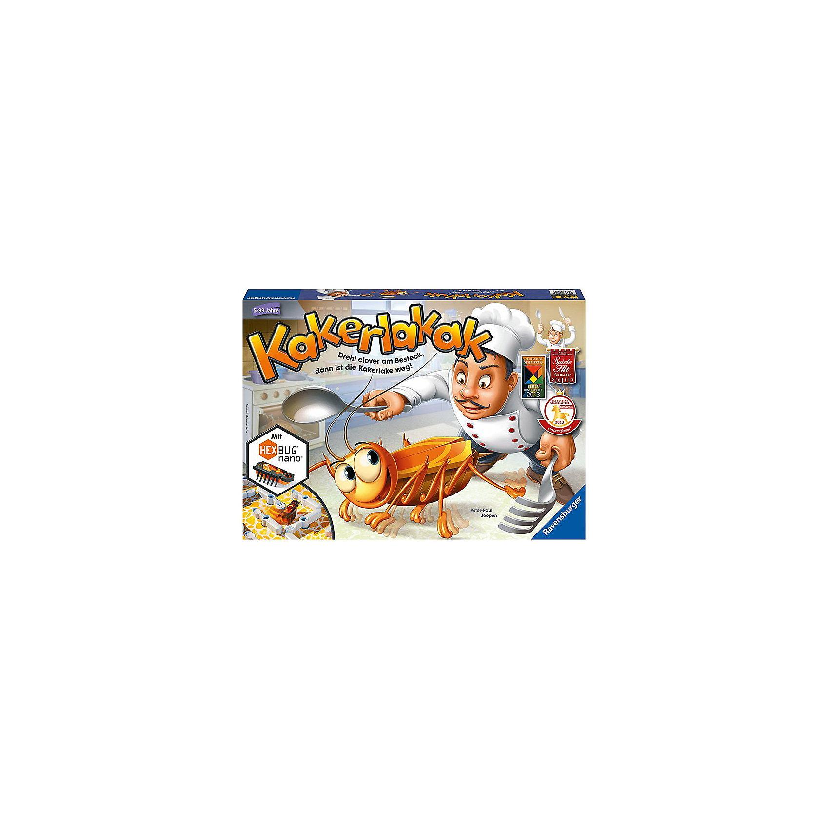 Игра Кукарача, RavensburgerИгра Кукарача - еще одна оригинальная новинка от немецкого бренда Ravensburger. Эта смешная и занимательная интерактивная игра доставит много радости как детям, так и взрослым!<br><br>Тревога, тревога! На кухне завелись... тараканы! Рыжие и усатые, они выползают из своих щелей, когда выключается свет, и разносят грязь по квартире. Необходимо как можно скорее от них избавиться! Нельзя терять ни минуты! <br><br>Перемещая на игровом поле столовые приборы, игроки должны загнать шустрого насекомого в лунку. Бросая кубик, участники узнают, какой из предметов - вилку, нож или ложку - можно передвинуть. Имеется 4 варианта расположения игрового лабиринта.<br><br>За каждого пойманного таракана игрок получает одну фишку. Участник, собравший 5 фишек, становится победителем.<br><br>В игре Кукарача использованы уникальные чипы HEXBUG@ Nano — микророботы, которые повторяют поведение настоящих насекомых. Именно поэтому предугадать, куда в следующий момент побежит таракан, очень сложно. Нанороботы непредсказуемы: они запрограммированы на то, чтобы самостоятельно огибать препятствия лабиринта в поисках выхода.<br><br>Вперед на веселую охоту за тараканами вместе с игрой Кукарача от Ravensburger!<br><br>Дополнительная информация:<br><br>В наборе:<br>- 1 чип HEXBUG@ Nano в форме таракана (с одной установленной в микророботе и одной запасной батарейками)<br>- игровое поле с 24 столовыми приборами, которые можно поворачивать<br>- 18 шишек<br>- кубик<br>- 2 дверцы<br><br>Количество игроков: 2-4 человек<br>Размер упаковки: 43 х 30 х 6 см<br><br>Ширина мм: 439<br>Глубина мм: 302<br>Высота мм: 55<br>Вес г: 1067<br>Возраст от месяцев: 60<br>Возраст до месяцев: 108<br>Пол: Унисекс<br>Возраст: Детский<br>SKU: 2599319
