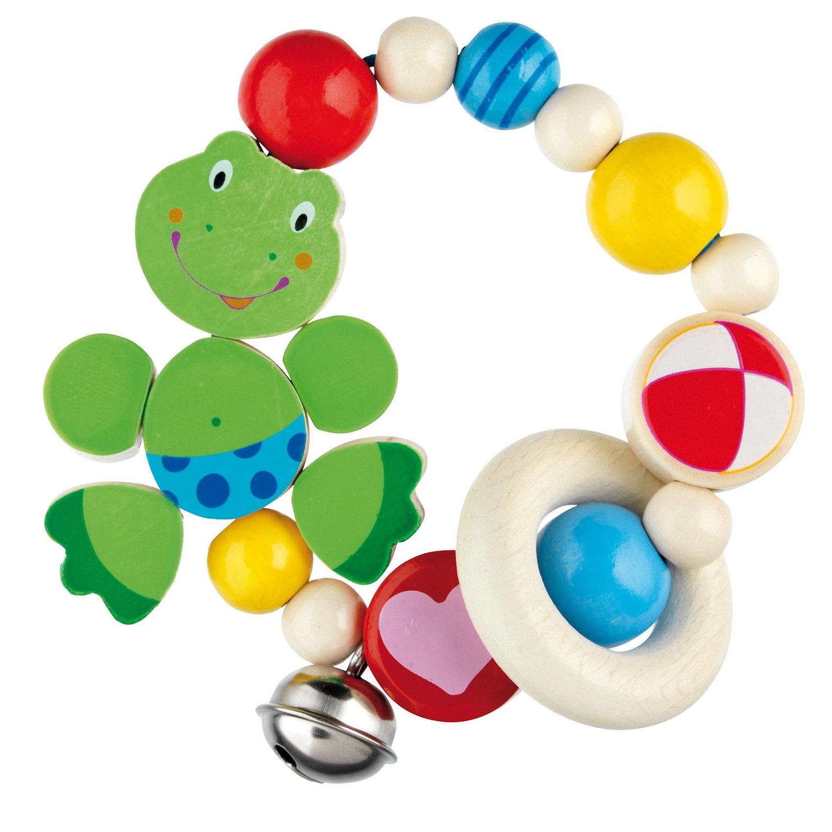Игрушка-кольцо эластик Лягушонок , HEIMESSПрорезыватели<br>Удобная  для маленьких ручек игрушка-прорезыватель. Абсолютно безопасные очень стойкие краски на водной основе. Бусинки закреплены особо прочным шнуром.<br><br>Ширина мм: 171<br>Глубина мм: 147<br>Высота мм: 27<br>Вес г: 56<br>Возраст от месяцев: 3<br>Возраст до месяцев: 10<br>Пол: Унисекс<br>Возраст: Детский<br>SKU: 2603962