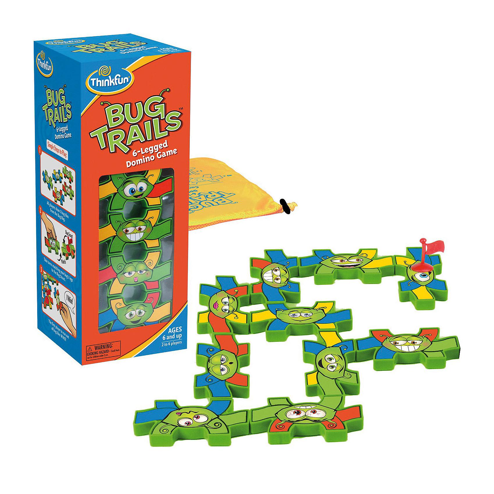 Игра Муравьиная тропинка, ThinkfunИгры для развлечений<br>5980-RU Муравьиная Тропинка - Bug Trails<br>Красочное домино для детей с оригинальными правилами.<br> Цель игры: Первым избавиться от всех своих фишек.<br>Правила игры:<br> - Игроки набирают по 5 фишек из мешка с фишками.<br> - Первый игрок выкладывает любую из своих фишек, ставит на нее флаг Муравья-скаута<br> - По очереди каждый игрок старается выложить одну из своих фишек так, чтобы хотя бы одна из ножек совпала по цвету с ножкой Муравья-скаута;<br> - При совпадении одной ножки (или когда вообще нет возможности выложить фишку) игрок берет новую фишку из мешка.<br> - При совпадении двух ножек игрок НЕ берет новую фишку из мешка.<br> - При совпадении трех или более ножек игрок может скинуть любую из своих фишек обратно в мешок.<br> - Флаг муравья-скаута перемещается на последнюю выложенную фишку. Ход переходит к следующему игроку.<br>* коробка полностью переведена на русский<br><br>Ширина мм: 300<br>Глубина мм: 260<br>Высота мм: 60<br>Вес г: 390<br>Возраст от месяцев: 36<br>Возраст до месяцев: 144<br>Пол: Унисекс<br>Возраст: Детский<br>SKU: 2604189