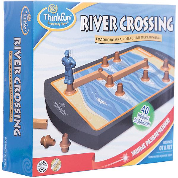 Игра Опасная переправа, ThinkfunСпортивные настольные игры<br>Логическая игра Опасная переправа от Thinkfun. <br><br>Игра состоит из 40 оригинальных заданий и 4 игровых уровней. Вы можете начать игру с легких заданий как начинающий или попробовать решить сложные логические задания как эксперт. <br><br>Задача игрока заключается в помощи туристу, который хочет перебраться через реку сухим и невредимым. В этом ему помогут пеньки и доски, из которых игроку надо построить дорожку. Если турист сможет добраться до противоположного берега, то Вы выиграли!<br><br>Развивайте логику и пространственное мышление вместе с играми от Thinkfun!<br>Ширина мм: 350; Глубина мм: 240; Высота мм: 30; Вес г: 502; Возраст от месяцев: 72; Возраст до месяцев: 144; Пол: Унисекс; Возраст: Детский; SKU: 2604190;