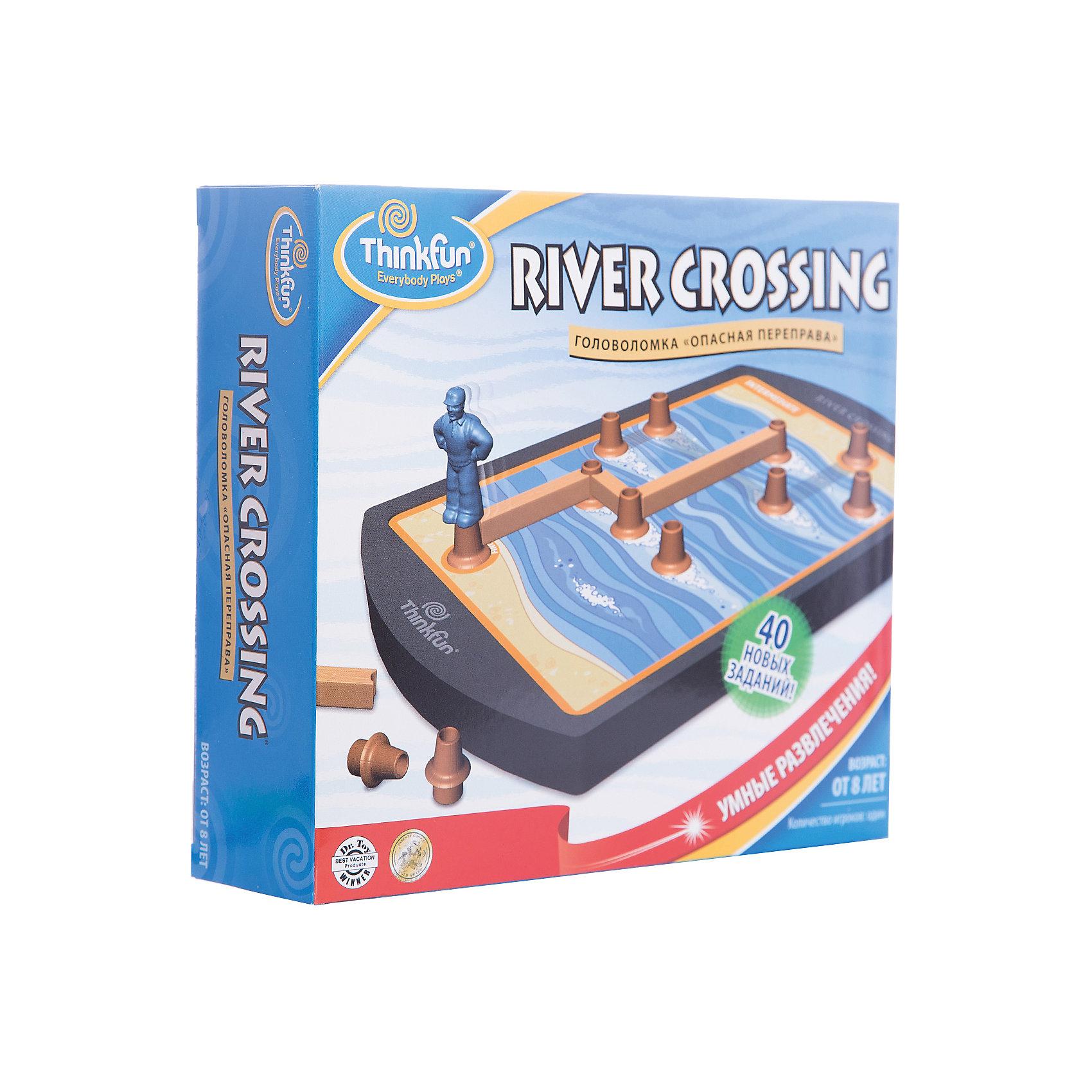 Игра Опасная переправа, ThinkfunГоловоломки<br>Логическая игра Опасная переправа от Thinkfun. <br><br>Игра состоит из 40 оригинальных заданий и 4 игровых уровней. Вы можете начать игру с легких заданий как начинающий или попробовать решить сложные логические задания как эксперт. <br><br>Задача игрока заключается в помощи туристу, который хочет перебраться через реку сухим и невредимым. В этом ему помогут пеньки и доски, из которых игроку надо построить дорожку. Если турист сможет добраться до противоположного берега, то Вы выиграли!<br><br>Развивайте логику и пространственное мышление вместе с играми от Thinkfun!<br><br>Ширина мм: 350<br>Глубина мм: 240<br>Высота мм: 30<br>Вес г: 502<br>Возраст от месяцев: 72<br>Возраст до месяцев: 144<br>Пол: Унисекс<br>Возраст: Детский<br>SKU: 2604190