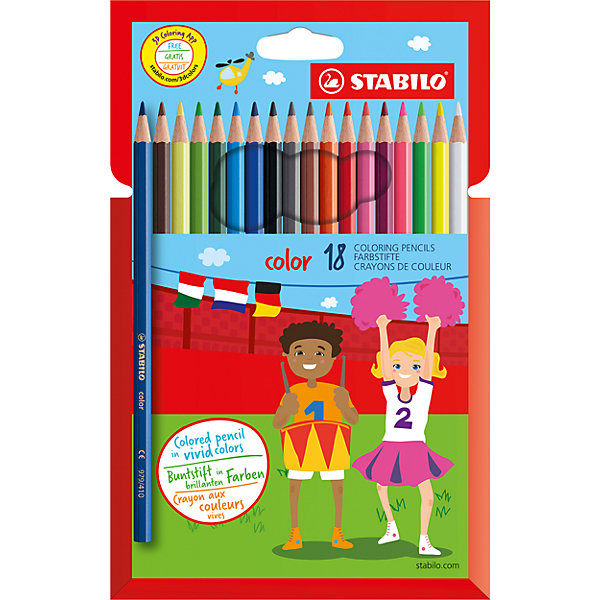 Набор цветных карандашей 18 цв.Письменные принадлежности<br>Набор цветных карандашей 18 цв. от марки Stabilo<br><br>Эти карандаши созданы немецкой компанией для комфортного и легкого рисования. Легко затачиваются, при этом грифель очень устойчив к поломкам. Цвета яркие, линия мягкая и однородная. Будут долго держаться на бумаге и не выцветать. Рисование помогает детям развивать усидчивость, воображение, образное восприятие мира, а также мелкую моторику рук.  <br>Грифель - из высококачественного материала. В наборе - 18 карандашей разных цветов. Они отлично лежат в руке благодаря удобной форме и качественному покрытию.<br><br>Особенности данной модели:<br><br>комплектация: 18 шт.<br><br>Набор цветных карандашей 18 цв. от марки Stabilo можно купить в нашем магазине.<br>Ширина мм: 213; Глубина мм: 126; Высота мм: 12; Вес г: 100; Возраст от месяцев: 72; Возраст до месяцев: 1164; Пол: Унисекс; Возраст: Детский; SKU: 2606803;