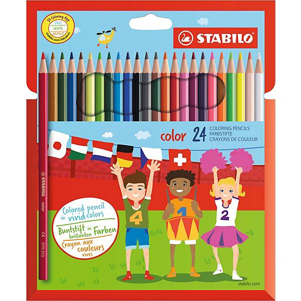 Набор цветных карандашей 24 цв.Цветные<br>Набор цветных карандашей 24 цв. от марки Stabilo<br><br>Эти карандаши созданы немецкой компанией для комфортного и легкого рисования. Легко затачиваются, при этом грифель очень устойчив к поломкам. Цвета яркие, линия мягкая и однородная. Будут долго держаться на бумаге и не выцветать. Рисование помогает детям развивать усидчивость, воображение, образное восприятие мира, а также мелкую моторику рук.  <br>Грифель - из высококачественного материала. В наборе - 24 карандаша разных цветов. Они отлично лежат в руке благодаря удобной форме и качественному покрытию.<br><br>Особенности данной модели:<br><br>комплектация: 24 шт.<br><br>Набор цветных карандашей 24 цв. от марки Stabilo можно купить в нашем магазине.<br>Ширина мм: 216; Глубина мм: 180; Высота мм: 12; Вес г: 121; Возраст от месяцев: 60; Возраст до месяцев: 120; Пол: Унисекс; Возраст: Детский; SKU: 2606804;