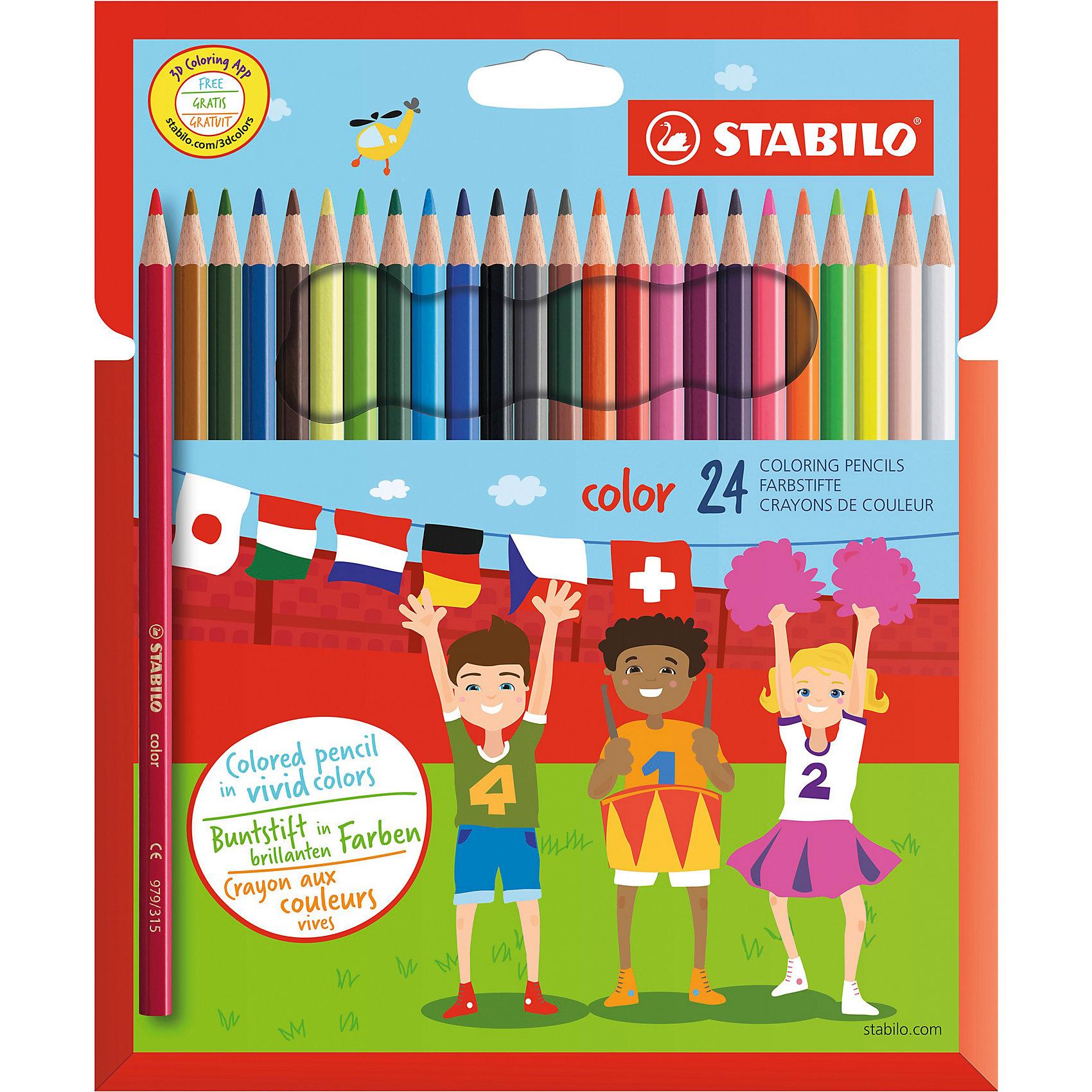 Набор цветных карандашей 24 цв.Набор цветных карандашей 24 цв. от марки Stabilo<br><br>Эти карандаши созданы немецкой компанией для комфортного и легкого рисования. Легко затачиваются, при этом грифель очень устойчив к поломкам. Цвета яркие, линия мягкая и однородная. Будут долго держаться на бумаге и не выцветать. Рисование помогает детям развивать усидчивость, воображение, образное восприятие мира, а также мелкую моторику рук.  <br>Грифель - из высококачественного материала. В наборе - 24 карандаша разных цветов. Они отлично лежат в руке благодаря удобной форме и качественному покрытию.<br><br>Особенности данной модели:<br><br>комплектация: 24 шт.<br><br>Набор цветных карандашей 24 цв. от марки Stabilo можно купить в нашем магазине.<br><br>Ширина мм: 211<br>Глубина мм: 167<br>Высота мм: 13<br>Вес г: 122<br>Возраст от месяцев: 60<br>Возраст до месяцев: 120<br>Пол: Унисекс<br>Возраст: Детский<br>SKU: 2606804