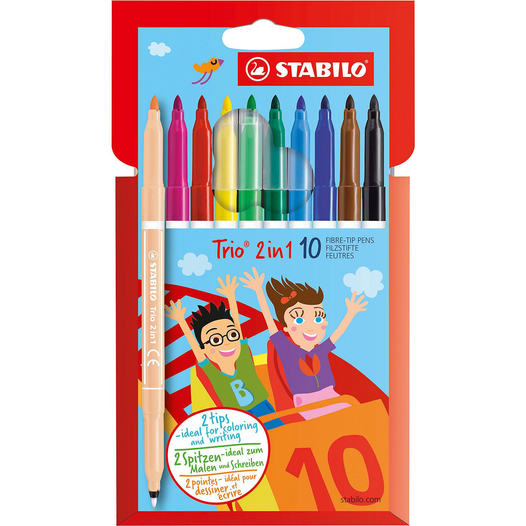 Набор фломастеров TRIO 2 в 1, 10 цв.Рисование<br>Набор фломастеров TRIO 2 в 1, 10 цв. от марки Stabilo<br><br>Фломастеры сделаны из приятного на ощупь материала, с яркими чернилами высокого качества. Поверхность корпуса препятствует скольжению пальцев и обеспечивает комфорт при рисовании. <br>Рисование помогает детям развивать усидчивость, воображение, образное восприятие мира, а также мелкую моторику рук.  <br>Эти фломастеры сделаны с применением качественных чернил. В наборе - 10 разных ярких цветов. Упаковка удобная. Корпус сделан из пластика.<br><br>Особенности данной модели:<br><br>комплектация: 10 шт.<br><br>Набор фломастеров TRIO 2 в 1, 10 цв. от марки Stabilo можно купить в нашем магазине.<br><br>Ширина мм: 208<br>Глубина мм: 116<br>Высота мм: 17<br>Вес г: 92<br>Возраст от месяцев: 36<br>Возраст до месяцев: 84<br>Пол: Унисекс<br>Возраст: Детский<br>SKU: 2606812