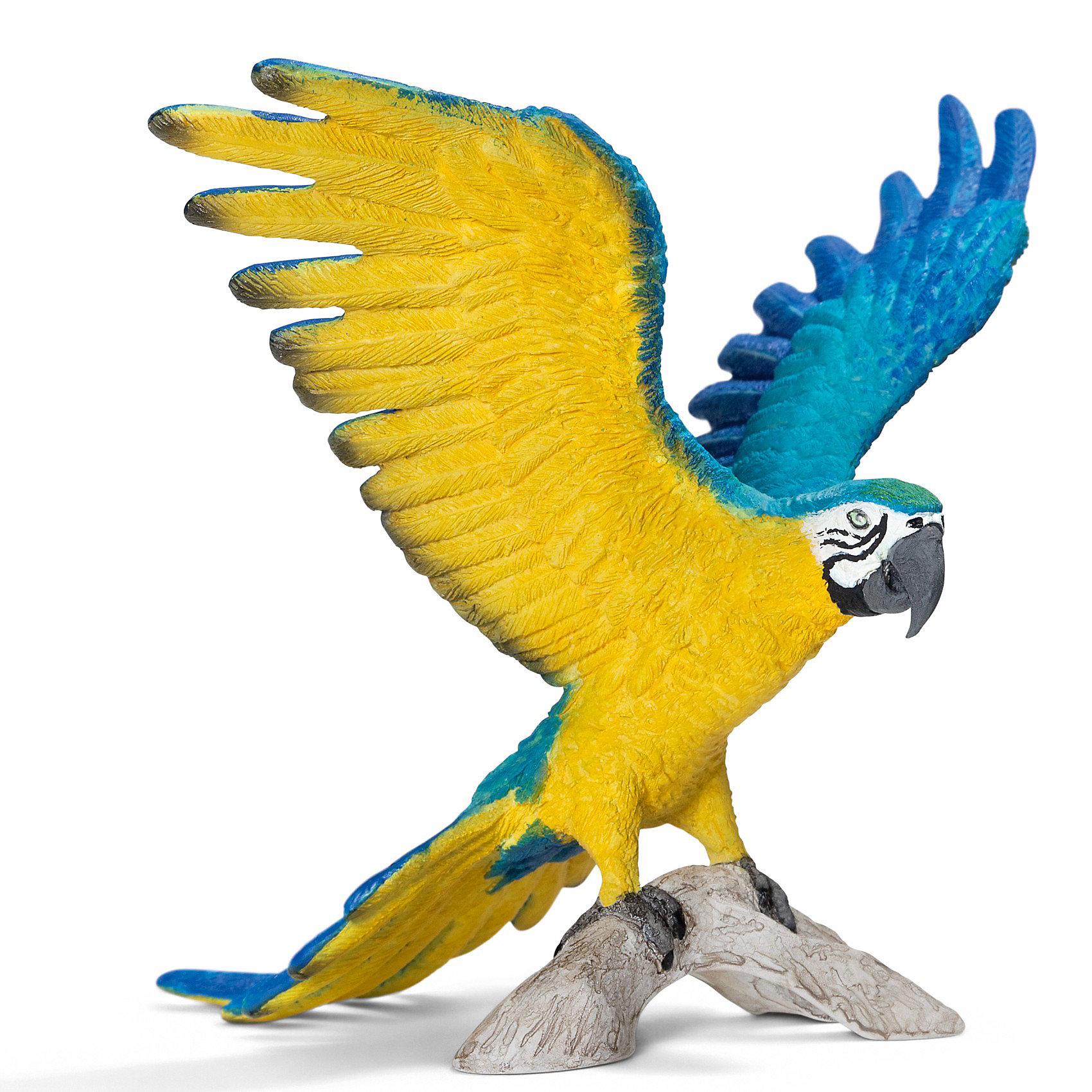 Сине-Желтый Ара. Серия Дикие животныеМир животных<br>Фигурка Сине-желтый ара Schleich.<br><br>Этот попугай с ярким оперением родом из Южной Америки. Сине-желтый ара – очень романтичная птица, самец и самка никогда не расстаются.<br><br>Попугай сине-желтый ара может достигать до 90 см в высоту, обитает эта красивая птица в Южной Америке в тропических лесах. <br><br>Фигурка Сине-желтый ара Schleich (Шляйх) из серии Дикие животные выполнена из каучукового пластика, каждая фигурка раскрашивается вручную.<br><br>Дополнительная информация:<br><br>- Размеры (ДхШхВ): около 8 х 8 х 9 см<br><br>Ширина мм: 95<br>Глубина мм: 81<br>Высота мм: 58<br>Вес г: 16<br>Возраст от месяцев: 36<br>Возраст до месяцев: 96<br>Пол: Унисекс<br>Возраст: Детский<br>SKU: 2609266