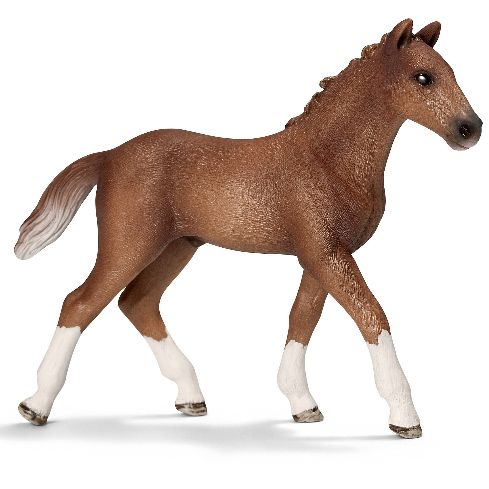 Гановерский жеребенок, SchleichМир животных<br>Ганноверский жеребенок, Schleich (Шляйх) – это высококачественная коллекционная и игровая фигурка.<br><br>Ганноверский жеребенок из благородной спортивной породы лошадей. Порода разводится в Германии с 1735 года. Она превосходно подходит для выездки и конкура. Ганноверская лошадь считается самой способной в обучении, эти лошади самые понятливые, внимательные и уравновешенные. Прекрасно выполненные фигурки Schleich (Шляйх) являются максимально точной копией настоящих животных и отличаются высочайшим качеством игрушек ручной работы. Каждая фигурка разработана с учетом исследований в области педагогики.<br>Фигурка Ганноверского жеребенка прекрасно разнообразит игру вашего ребенка и станет отличным пополнением коллекции его фигурок животных.<br><br>Дополнительная информация<br><br>- Размер фигурки: 10.5 ? 2.5 ? 8.5см.<br>- Материал: высококачественный каучуковый пластик<br><br>Фигурку Ганноверская кобыла, Schleich (Шляйх) можно купить в нашем интернет-магазине.<br><br>Ширина мм: 151<br>Глубина мм: 96<br>Высота мм: 27<br>Вес г: 48<br>Возраст от месяцев: 36<br>Возраст до месяцев: 96<br>Пол: Женский<br>Возраст: Детский<br>SKU: 2609283