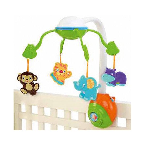 RU Музыкальный мобиль Bright Starts Сафари (5 мелодий, зеркало)Игрушки для новорожденных<br>Музыкальный мобиль Сафари (5 мелодий, зеркало), Bright Starts<br><br>Характеристики:<br><br>• Количество мелодий: 5<br>• Возраст: от 0 месяцев<br>• Количество деталей: мобиль с музыкальным блоком, 4 подвески.<br>• Наличие батареек: не входят в комплект.<br>• Тип батареек: 3 х С / LR14 1.5V (малые бочонки).<br>• Состав: пластик.<br>• Размер упаковки: 38 х 10 х 28 см.<br>• Размер игрушки: 48 x 32 x 50 см.<br>• Упаковка: картонная коробка.<br>• Страна обладатель бренда: США.<br><br>Мобиль с яркими животными оснащен черно-белыми элементами, которые малыш сможет увидеть с первых дней его жизни. Пять успокаивающих мелодий помогут малышу обрести крепкий сон. Кроме этого в комплекте есть зеркальце, сделанное из безопасного материала, который не навредит малышу. Оно привлечет внимание любого малыша и сделает игру еще интереснее. Крепление на кроватку очень надежное и гарантированно не упадет, даже вовремя активной игры.<br><br>Музыкальный мобиль Сафари (5 мелодий, зеркало), Bright Starts можно купить в нашем интернет-магазине.<br>Ширина мм: 381; Глубина мм: 95; Высота мм: 279; Вес г: 1428; Возраст от месяцев: 0; Возраст до месяцев: 60; Пол: Унисекс; Возраст: Детский; SKU: 2609736;