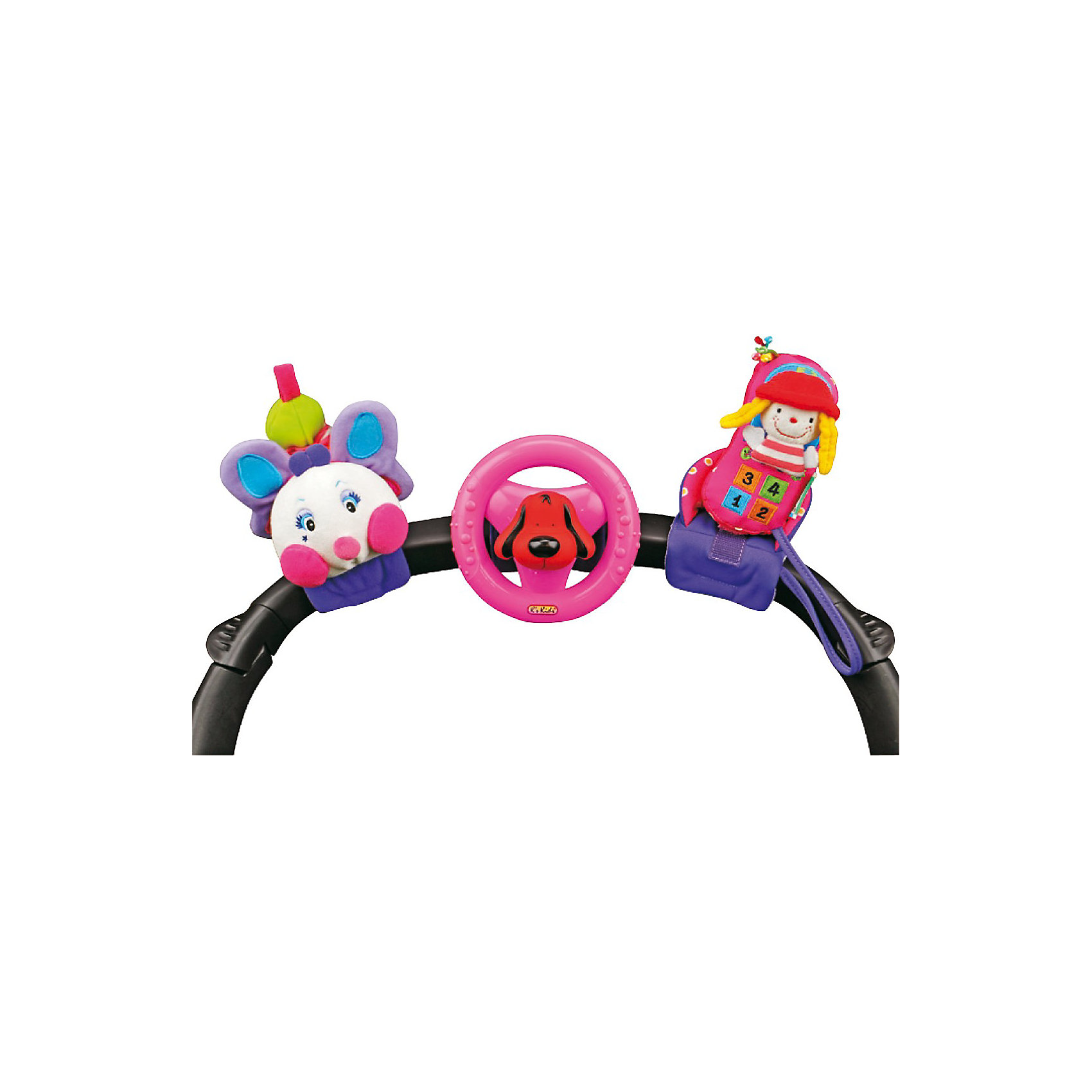 Гусеница, руль и мобильный телефон на крепленииГусеница, руль и мобильный телефон на креплении - замечательный набор игрушек для малышей в возрасте от шести месяцев. Яркий и красочный, он наверняка понравится Вашему малышу!<br><br>Набор состоит из трех развивающих игрушек: яркая вибрирующая гусеница, вращающийся руль с пищалкой и телефон с погремушкой.<br>Яркие и красивые игрушки, входящие в данный набор, привлекают внимание малыша, учат распознавать цвета и звуки, способствуют развитию мелкой моторики. С помощью мягких текстильных ремешков на липучках они легко крепятся к коляске, кроватке или автокреслу. Играть игрушками можно по-отдельности.<br>Игрушки изготовлены из высококачественных, нетоксичных материалов, соответствуют самым высоким требованиям и абсолютно безопасны для здоровья малышей. <br><br>Дополнительная информация:<br><br>- В комплект входят: 3 игрушки.<br>- Крепятся к коляске, кроватке и др. с помощью текстильных ремешков на липучках.<br>- Материал: текстиль.<br><br>Ширина мм: 343<br>Глубина мм: 115<br>Высота мм: 145<br>Вес г: 447<br>Возраст от месяцев: 0<br>Возраст до месяцев: 24<br>Пол: Унисекс<br>Возраст: Детский<br>SKU: 2620724