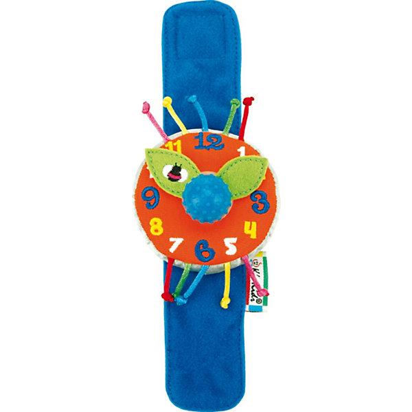 Часики мягкие наручные Мои первые часыМягкие игрушки<br>Часики мягкие наручные Мои первые часы - яркие и красивые текстильные часики, которые обязательно очаруют Вашего малыша, ведь они - почти как взрослые и даже тикают, если покуртить стрелки!<br><br>С этими часиками весело играть и учиться. Мягкий широкий ремешок на липучке удобно застегивается на запястье малыша.<br>Сам циферблат большой и мягкий, с вышитыми цифрами и плотными тканевыми стрелочками, которые можно покрутить как вместе (за большую рукоятку посередине), так и по-отдельности.  При прокручивании стрелочек с помощью рукоятки раздается щелкающий звук. <br><br>Дополнительная информация:<br><br>- Материал: полиэстер, набивка синтетическим волокном.<br>- Размер игрушки: браслетик – длина 20 см, циферблат – диаметр 7 см.<br>- с помощью рукоятки посередине стрелочки крутятся с тикающим звуком. Материал рукоятки: резина.<br><br>Игра с часиками способствует развитию координации движений малыша, развивает мелкую моторику пальцев рук, а также стимулирует развитие умственных способностей.<br><br>Ширина мм: 70<br>Глубина мм: 40<br>Высота мм: 205<br>Вес г: 20<br>Возраст от месяцев: 12<br>Возраст до месяцев: 60<br>Пол: Унисекс<br>Возраст: Детский<br>SKU: 2620725