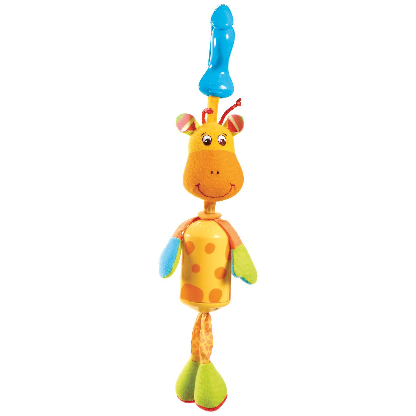 Подвес-колокольчик жираф Самсон, Tiny LoveПодвески<br>Подвес-колокольчик жираф Самсон - яркая и симпатичная развивающая игрушка-подвеска со звуковыми эффектами. <br><br>Игрушка выполнена в виде стилизованного ветряного колокольчика. Тело игрушки  выполнено из фарфорового пластика, мордочка, ручки и ножки  - из приятных текстильных материалов различной фактуры.<br>У Самсона очень милая симпатичная мордочка, которая наверняка понравится крохе. Ножки жирафа выполнены из мягкого материала с хрустящим наполнителем,  они легко мнутся и замечательно шуршат. Лапки-верёвочки подвижные, их можно трогать, теребить, поворачивать и сгибать как угодно. Тельце Жирафа – яркий пластиковый цилиндр с геометрическим рисунком, даже при лёгком прикосновении к игрушке он издаёт негромкий и приятный мелодичный звук, сродний звону ветряных колокольчиков, и привлекает тем самым внимание ребёнка. <br>Игрушка с помощью пластикового крабика-клипсы легко и быстро закрепляется на кроватке, прогулочной коляске или кресле малыша, а также к дугам развивающего центра.<br><br>Дополнительная инфоррмация:<br><br>- Материалы: фарфоровый пластик, текстиль.<br>- Звуковые эффекты.<br>- Крепление-крабик.<br><br>Подвес-колокольчик жираф Самсон, Tiny Love (Тини Лав) можно купить в нашем интернет магазине.<br><br>Ширина мм: 70<br>Глубина мм: 130<br>Высота мм: 340<br>Вес г: 128<br>Возраст от месяцев: 0<br>Возраст до месяцев: 24<br>Пол: Унисекс<br>Возраст: Детский<br>SKU: 2620734