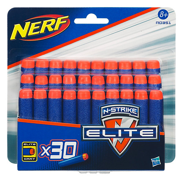 Комплект 30 стрел для бластеров, NERFИгрушечные пистолеты и бластеры<br>Комплект мягких и безопасных стрел, которые подходят к любому бластеру Nerf Элит.<br><br>Дополнительная информация:<br>- Материал: резина.<br>- В комплекте: 30 шт.<br><br>Комплект из 30 стрел для бластеров, Nerf можно купить в нашем интернет - магазине.<br>Ширина мм: 161; Глубина мм: 152; Высота мм: 40; Вес г: 66; Возраст от месяцев: 96; Возраст до месяцев: 144; Пол: Мужской; Возраст: Детский; SKU: 2624492;