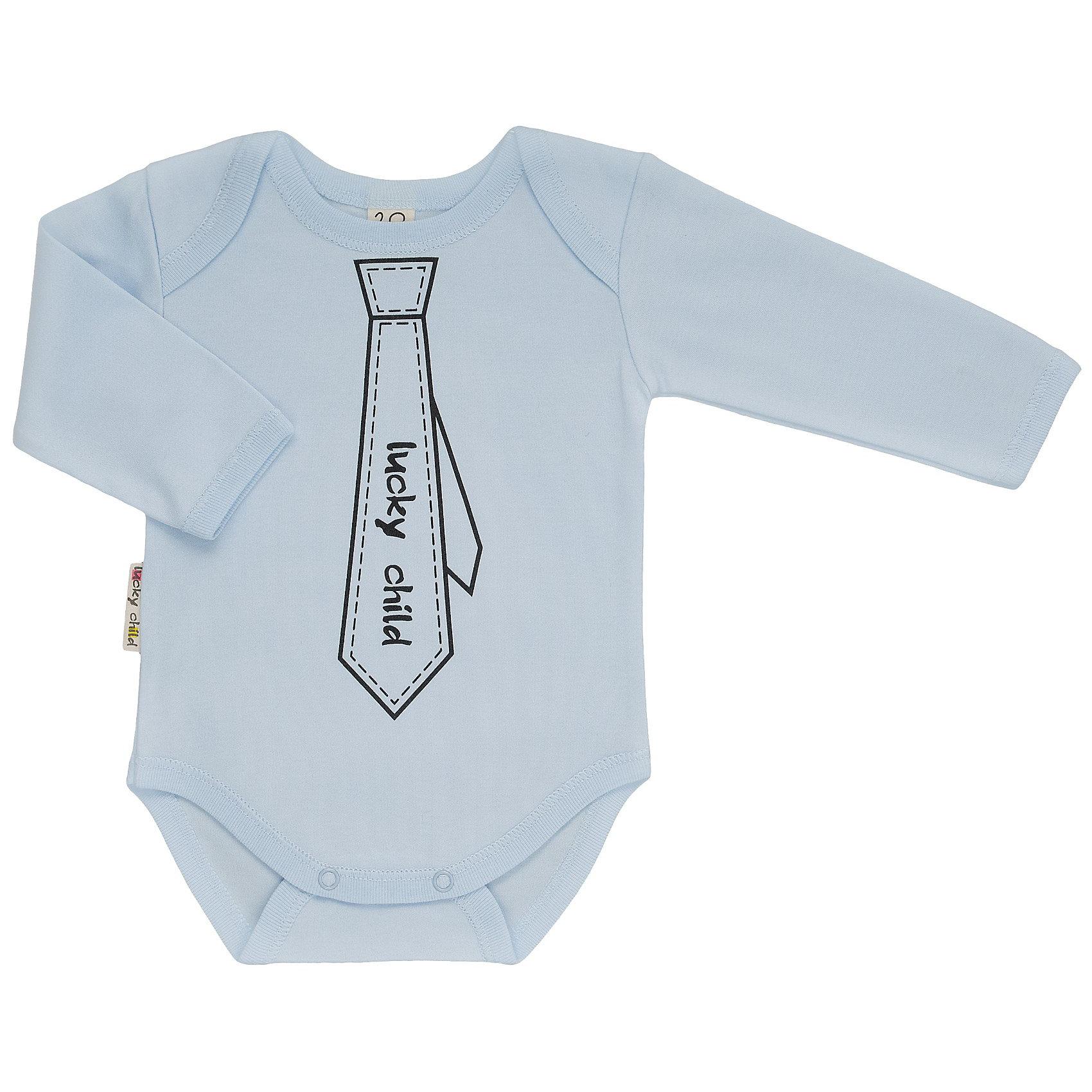 Lucky Child Боди для мальчикаСтильное боди с длинным рукавом для юного джентльмена. Комфортная горловина с запахом. Застегивается на кнопки между ног. Приятный к телу натуральный гипоаллергенный материал (100% хлопок).<br><br>Ширина мм: 157<br>Глубина мм: 13<br>Высота мм: 119<br>Вес г: 200<br>Цвет: голубой<br>Возраст от месяцев: 12<br>Возраст до месяцев: 18<br>Пол: Мужской<br>Возраст: Детский<br>Размер: 80/86,74/80,56/62,62/68,68/74<br>SKU: 2635121