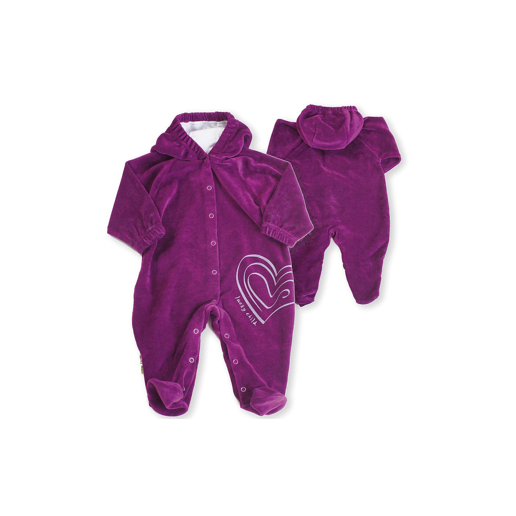Lucky Child Комбинезон для девочки Lucky Child пижама для девочки lucky child цвет кремовый желтый оранжевый 12 402 размер 80 86