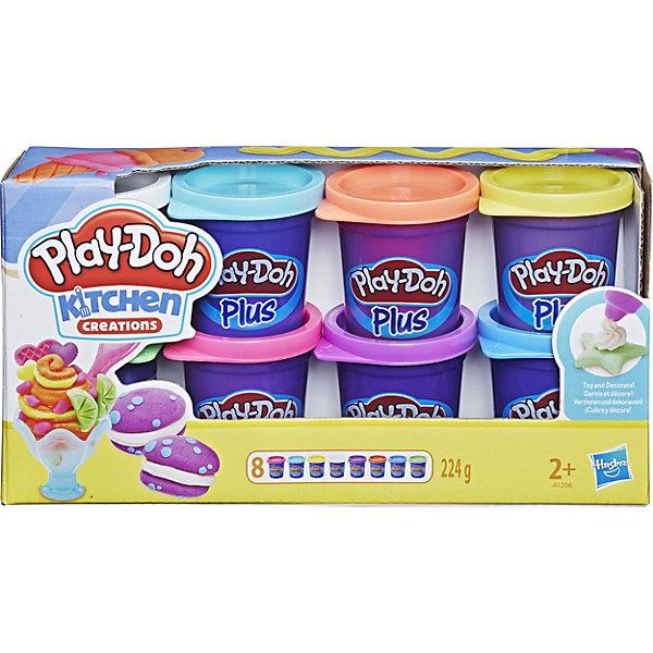 8 банок пластилина Play-Doh PLUSНаборы для лепки<br>Сенсация! При помощи нового пластилина Play-Doh PLUS (в синей баночке) Вы сможете слепить даже самые маленькие детали для Ваших шедевров! Тортики с розочками, мороженое и пирожные со всевозможными декоративными элементами, и это еще не предел.  Его структура более мягкая и приятная на ощупь. Имеет сладкий запах, но соленый на вкус!<br><br>Дополнительная информация:<br><br>-  в комплекте 8 банок Play-Doh ПЛЮС (зеленый, белый, светло-желтый, оранжевый, розовый, зеленый, фиолетовый, бирюзовый)<br>- Вес каждой банки: 28g <br>- Ультра-мягкая консистенция<br><br>8 банок пластилина Play-Doh PLUS можно купить в нашем магазине.<br>Ширина мм: 222; Глубина мм: 114; Высота мм: 60; Вес г: 371; Возраст от месяцев: 24; Возраст до месяцев: 60; Пол: Унисекс; Возраст: Детский; SKU: 2808038;