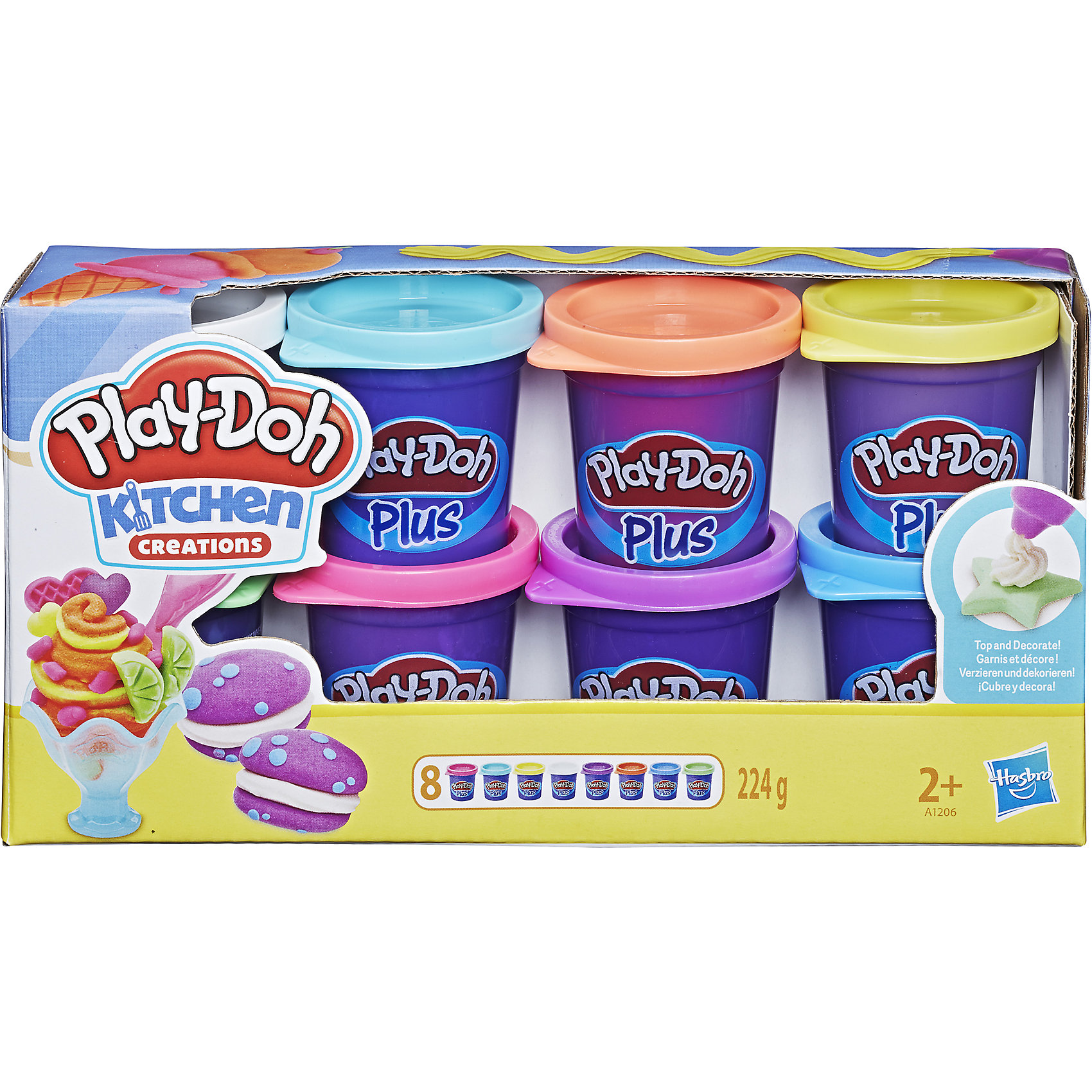 8 банок пластилина Play-Doh PLUSНаборы для лепки<br>Сенсация! При помощи нового пластилина Play-Doh PLUS (в синей баночке) Вы сможете слепить даже самые маленькие детали для Ваших шедевров! Тортики с розочками, мороженое и пирожные со всевозможными декоративными элементами, и это еще не предел.  Его структура более мягкая и приятная на ощупь. Имеет сладкий запах, но соленый на вкус!<br><br>Дополнительная информация:<br><br>-  в комплекте 8 банок Play-Doh ПЛЮС (зеленый, белый, светло-желтый, оранжевый, розовый, зеленый, фиолетовый, бирюзовый)<br>- Вес каждой банки: 28g <br>- Ультра-мягкая консистенция<br><br>8 банок пластилина Play-Doh PLUS можно купить в нашем магазине.<br><br>Ширина мм: 222<br>Глубина мм: 114<br>Высота мм: 60<br>Вес г: 371<br>Возраст от месяцев: 24<br>Возраст до месяцев: 60<br>Пол: Унисекс<br>Возраст: Детский<br>SKU: 2808038