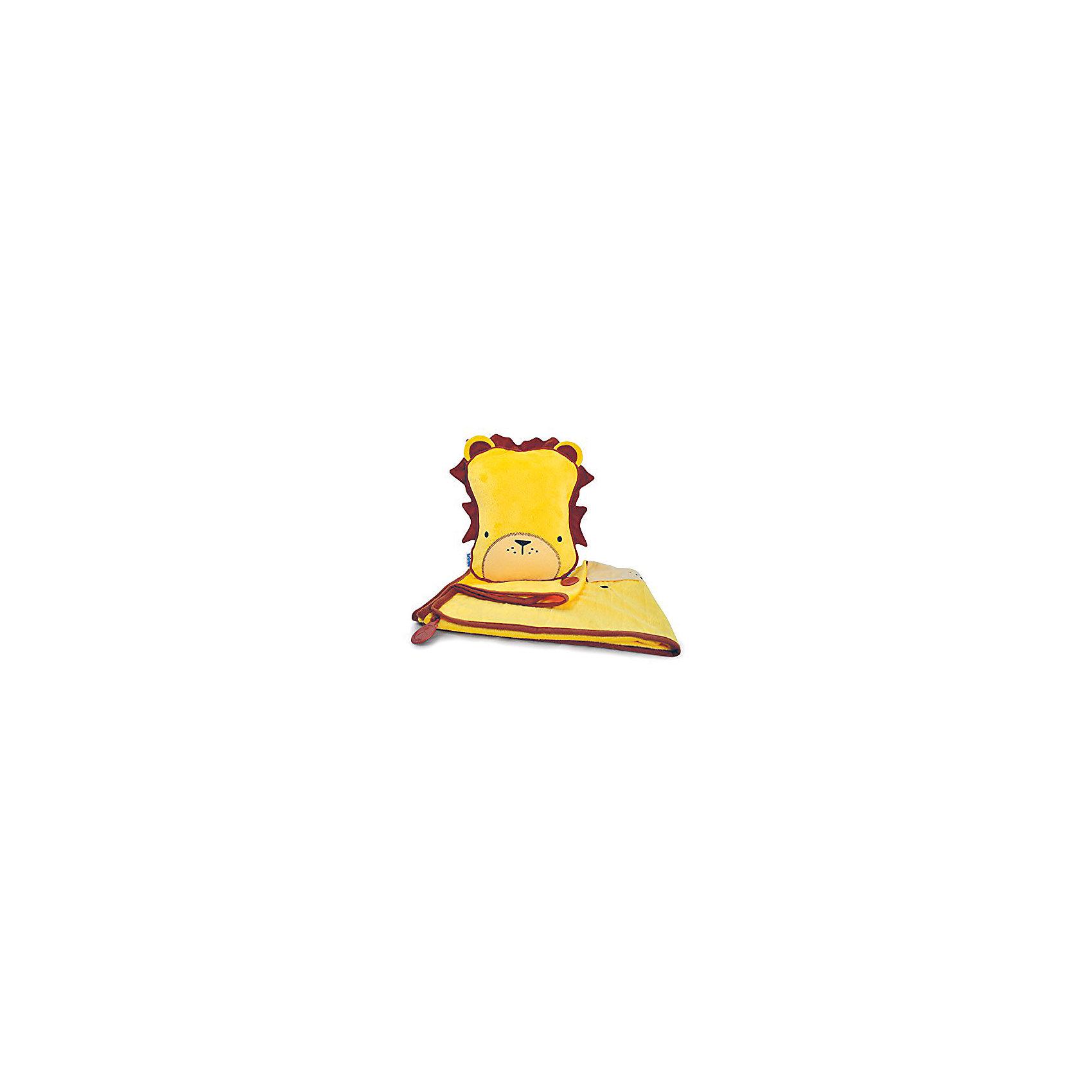 TRUNKI Подушка с пледом, ЛевДомашний текстиль<br>Удивительно полезный дорожный набор должен быть у каждого маленького путешественника! Подушку с пледом внутри легко и просто можно брать с собой в самолет, поезд или машину. Ваш малыш теперь будет с комфортом спать в дороге, положив головку на мягкую надувную подушку и укрывшись одеялом. <br>Подушка выполнена в виде забавной розовой рожицы. На пледе есть специальный кармашек, куда можно посадить свою любимую игрушку, чтобы она тоже поспала. Имеется уникальный «замочек», с помощью которого крепится угол одеяла к подушке, чтобы плед не свалился в момент сна. В это время родители смогут также отдохнуть и расслабиться в полной тишине.  <br>Размер подушки: 26 х 21 см. <br>Размер пледа: 70 х 90 см<br><br>Ширина мм: 245<br>Глубина мм: 130<br>Высота мм: 335<br>Вес г: 502<br>Возраст от месяцев: 36<br>Возраст до месяцев: 96<br>Пол: Мужской<br>Возраст: Детский<br>SKU: 2808079