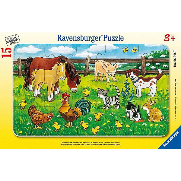 Пазл «Животные на лугу», 15 деталей, RavensburgerПазлы для малышей<br>Пазл «Животные на лугу» состоит  из 15 деталей, которые ребенок с легкостью сможет собрать. На картинке изображены милые животные: лошадки, свинка, собачка и многие другие. Ребёнок научится различать животных, чем расширит свой кругозор. Все детали набора сделаны из очень прочного и качественного картона, который держит форму продолжительное время, не расслаивается и не тускнеет. Сборка пазла отлично развивает воображение ребенка, его логику, образное мышление и поднимает общий уровень интеллекта. Приобрести пазл можно в нашем интернет- магазине.<br> <br>В товар входит:<br>-15 деталей<br><br>Дополнительная информация<br>-Размер картинки – 25*14,5 см <br>-Размер упаковки – 29,5*19 см<br>-Возраст: от 3 лет<br>-Для мальчиков и девочек<br>-Состав: картон<br>-Бренд: Ravensburger (Равенсбургер)<br>-Страна обладатель бренда: Германия<br>Ширина мм: 299; Глубина мм: 192; Высота мм: 7; Вес г: 160; Возраст от месяцев: 36; Возраст до месяцев: 60; Пол: Унисекс; Возраст: Детский; Количество деталей: 15; SKU: 2886868;