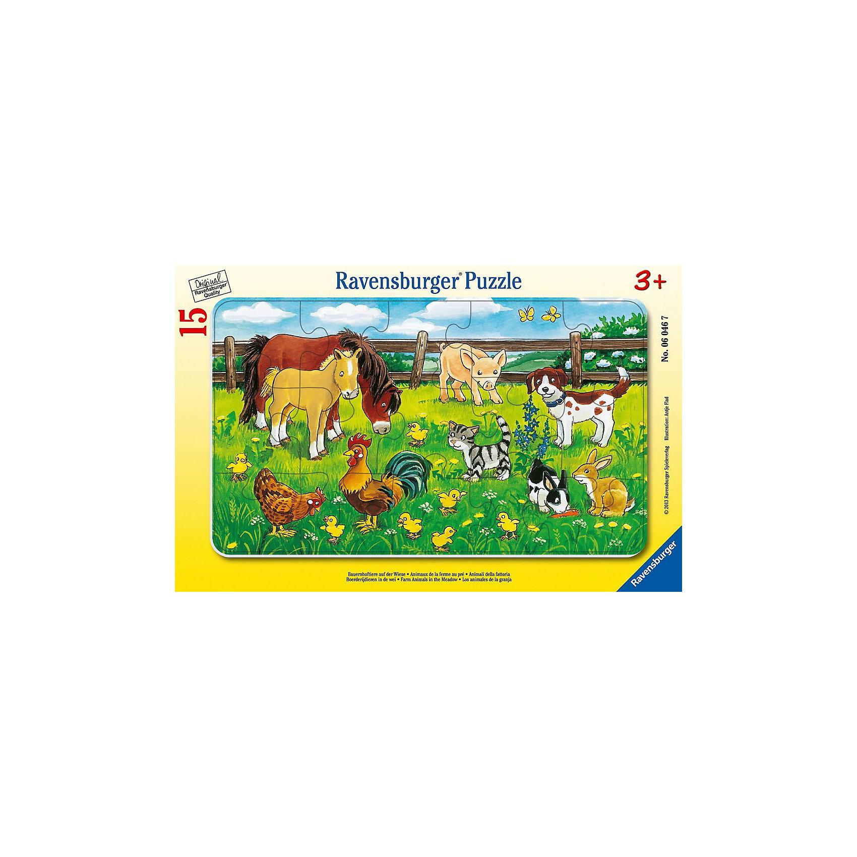 Пазл «Животные на лугу», 15 деталей, RavensburgerПазл «Животные на лугу» состоит  из 15 деталей, которые ребенок с легкостью сможет собрать. На картинке изображены милые животные: лошадки, свинка, собачка и многие другие. Ребёнок научится различать животных, чем расширит свой кругозор. Все детали набора сделаны из очень прочного и качественного картона, который держит форму продолжительное время, не расслаивается и не тускнеет. Сборка пазла отлично развивает воображение ребенка, его логику, образное мышление и поднимает общий уровень интеллекта. Приобрести пазл можно в нашем интернет- магазине.<br> <br>В товар входит:<br>-15 деталей<br><br>Дополнительная информация<br>-Размер картинки – 25*14,5 см <br>-Размер упаковки – 29,5*19 см<br>-Возраст: от 3 лет<br>-Для мальчиков и девочек<br>-Состав: картон<br>-Бренд: Ravensburger (Равенсбургер)<br>-Страна обладатель бренда: Германия<br><br>Ширина мм: 297<br>Глубина мм: 192<br>Высота мм: 7<br>Вес г: 157<br>Возраст от месяцев: 36<br>Возраст до месяцев: 60<br>Пол: Унисекс<br>Возраст: Детский<br>Количество деталей: 15<br>SKU: 2886868
