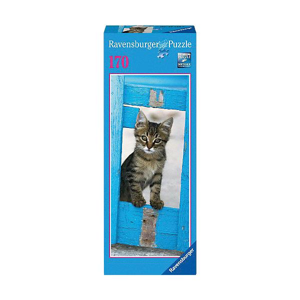 Вертикальный пазл Любопытный котенок, 170 деталей, RavensburgerПазлы до 200 деталей<br>Вертикальный пазл от немецкого бренда Ravensburger, который непременно порадует Вас высоким качеством и отличным дизайном.<br><br>Дополнительная информация:<br><br>- Вертикальный пазл.<br>- Размер картинки: 15х36 см<br>- Количество деталей: 170 шт.<br>Ширина мм: 270; Глубина мм: 106; Высота мм: 45; Вес г: 179; Возраст от месяцев: 108; Возраст до месяцев: 144; Пол: Унисекс; Возраст: Детский; Количество деталей: 170; SKU: 2886899;