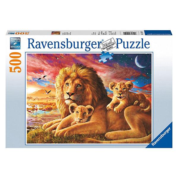 Пазл Семья львов Ravensburger, 500 деталейПазлы классические<br>Семья львов на фоне прекрасной природы Африки - этот красочный пазл из 500 деталей от Ravensburger доставит массу удовольствия!<br><br>Сбор пазлов также и очень полезен: он способствует развитию логического и пространственно-образного мышления, внимательности, памяти, воображения, фантазии и аккуратности. Складывая картинки, дети учатся решать комплексные задачи, соотносить часть и целое, быть усидчивыми и доводить дело до конца.<br><br>Все пазлы немецкой компании Ravensburger славятся высочайшим качеством полиграфии и идеальной стыковкой элементов. Благодаря особому штамповочному оборудованию данный производитель достигает большого многообразия форм деталей. Детали изготовлены из плотного картона и не деформируются при сборке.<br><br>Разнообразьте Ваш семейный досуг с помощью пазлов от Ravensburger!<br><br><br>Дополнительная информация:<br><br>- Количество деталей: 500 шт.<br>- Размер готовой картинки: 49 х 36 см.<br>Ширина мм: 339; Глубина мм: 233; Высота мм: 39; Вес г: 510; Возраст от месяцев: 144; Возраст до месяцев: 228; Пол: Унисекс; Возраст: Детский; Количество деталей: 500; SKU: 2886901;