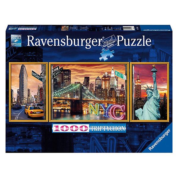 Пазл-триптих Ослепительный Нью Йорк Ravensburger, 1000 деталейПазлы классические<br>Великолепный Нью-Йорк с его огнями, небоскребами, динамикой и, конечно, Статуей Свободы мало кого может оставить равнодушным! Немецкая компания Ravensburger предлагает Вашему вниманию красочный пазл-триптих Ослепительный Нью Йорк из 1000 деталей.<br><br>Такой большой пазл можно собирать компанией друзей или всей семьей. Он также станет отличным дополнением к интерьеру. Достаточно скрепить готовую картинку с оборотной стороны специальным клеем для пазлов, который Вы можете приобрести в нашем интернет-магазине.<br><br>Высочайшее качество картона, полиграфии, насыщенные цвета, а также идеальная стыковка деталей принесут массу удовольствия от процесса сборки и, конечно же, радость конечному результату — красивым фотографиям Нью-Йорка!<br><br>Дополнительная информация:<br><br>- Пазл-триптих.<br>- Размер картинки:  98 х 38 см. <br>- Количество деталей: 1000 шт.<br>Ширина мм: 377; Глубина мм: 274; Высота мм: 55; Вес г: 866; Возраст от месяцев: 144; Возраст до месяцев: 228; Пол: Унисекс; Возраст: Детский; Количество деталей: 1000; SKU: 2886926;