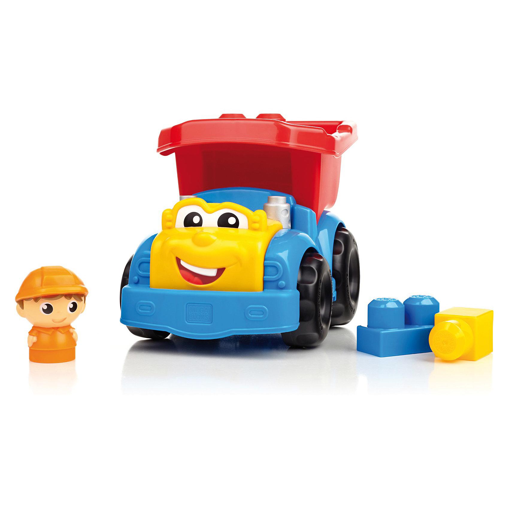 Маленькая машинка First Builders MEGA BLOKSПластмассовые конструкторы<br>Самосвал Дилан, Mega Bloks First Builders, приятно порадует Вашего малыша. Машинка выполнена в ярких красочных цветах, у Дилана забавное личико с веселой улыбкой и большие глаза. Кузов грузовика откидывается, его можно загрузить шестью входящими в комплект блоками или же отправить Дилана на поиски другого полезного груза. Управляет грузовиком веселый водитель, который будет рад любой работе. Грузовик и детали имеют крупный размер и форму, удобную для детских ручек. Набор совместим с другими наборами серии First Builders.<br><br>Дополнительная информация:<br><br>- В комплекте: грузовик, 6 деталей, фигурка водителя.   <br>- Материал: пластик.<br>- Размер игрушки: 15,5 х 17 х 23 см.<br>- Размер упаковки: 23 x 16 x 17 см. <br>- Вес: 0,53 кг.<br><br>Самосвал Дилан, MEGA BLOKS First Builders, можно купить в нашем интернет-магазине.<br><br>Ширина мм: 272<br>Глубина мм: 164<br>Высота мм: 180<br>Вес г: 459<br>Возраст от месяцев: 12<br>Возраст до месяцев: 48<br>Пол: Унисекс<br>Возраст: Детский<br>SKU: 2910775