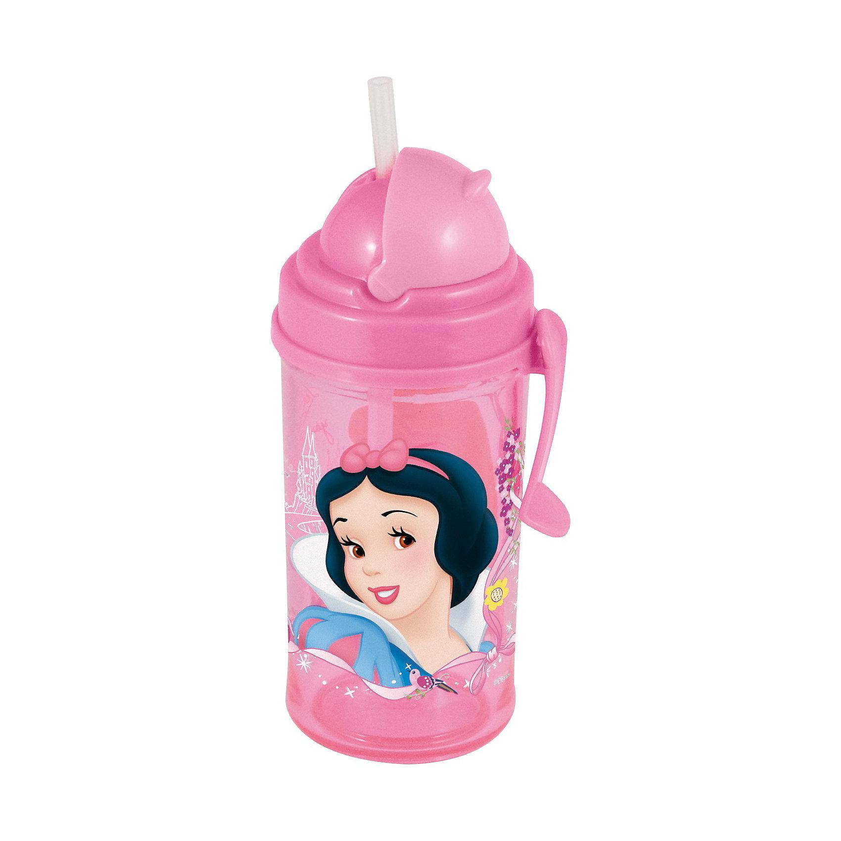 Новый Диск Disney Princess Фляга с соломинкой и держателем (350 мл). Принцессы disney princess disney princess спрей кондиционер для волос детский 200 мл