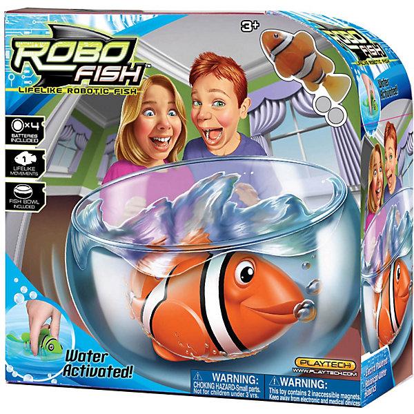 РобоРыбка Клоун с аквариумом, RoboFishРоборыбки<br>Набор РобоРыбка (Robofish) клоун с аквариумом - прекрасный подарок ребенку. Робофиш клоун при погружении в аквариум или другою емкостью с водой начинает плавать – опускаясь ко дну и поднимаясь к поверхности воды.<br><br>Дополнительная информация:<br><br>- Роборыбка работает от двух батареек А76 или RL44, которые входят в комплект (две установлены в игрушку и 2 запасные)<br>- Электромагнитный мотор позволяет рыбке двигаться в 5 направлениях.<br>- Аквариум изготовлен из пластика<br>- Длина рыбки: 7.5 см.<br>- Размер аквариума: 23 х 14 см.<br><br>РобоРыбку Клоун с аквариумом, RoboFish можно купить в нашем магазине.<br>Ширина мм: 615; Глубина мм: 455; Высота мм: 325; Вес г: 685; Возраст от месяцев: 36; Возраст до месяцев: 144; Пол: Унисекс; Возраст: Детский; SKU: 2999509;