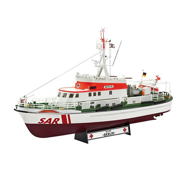 Спасательный катер Немецкой ассоциации по спасению потерпевших кораблекрушение DGzRS Berlin (в честьКорабли и подводные лодки<br>Характеристики товара:<br><br>• возраст: от 10 лет;<br>• цвет: белый;<br>• масштаб: 1:72<br>• количество деталей: 208 шт;<br>• материал: пластик;<br>• клей и краски в комплект не входят;<br>• длина модели: 38,2 см;<br>• бренд, страна бренда: Revell (Ревел),Германия;<br>• страна-изготовитель: Польша.<br><br>Сборная модель для склеивания «Поисково-спасательный катер немецкой организации DGzRS» поможет вам и вашему ребенку придумать увлекательное занятие на долгое время. <br><br>Набор включает в себя 208 пластиковых элементов, из которых можно собрать достоверную уменьшенную копию одноименного спасательного катера. В комплект также входит схематичная инструкция.<br><br>Модель представляет собой копию поисково-спасательного катера немецкой организации DGzRS. С момента своего образования в 1865 году, члены спасательной службы DGzRS помогли более 76 000 людям, попавшим в опасные ситуации. Спасательные работы организации финансируются из благотворительных пожертвований. <br> <br>Процесс сборки развивает интеллектуальные и инструментальные способности, воображение и конструктивное мышление, а также прививает практические навыки работы со схемами и чертежами. <br><br>Обращаем ваше внимание на тот факт, что для сборки этой модели клей и краски в комплект не входят. <br><br>Сборную модель для склеивания «Поисково-спасательный катер немецкой организации DGzRS», 208 дет., Revell (Ревел) можно купить в нашем интернет-магазине.<br><br>Ширина мм: 442<br>Глубина мм: 248<br>Высота мм: 116<br>Вес г: 653<br>Возраст от месяцев: 96<br>Возраст до месяцев: 156<br>Пол: Мужской<br>Возраст: Детский<br>SKU: 3000654