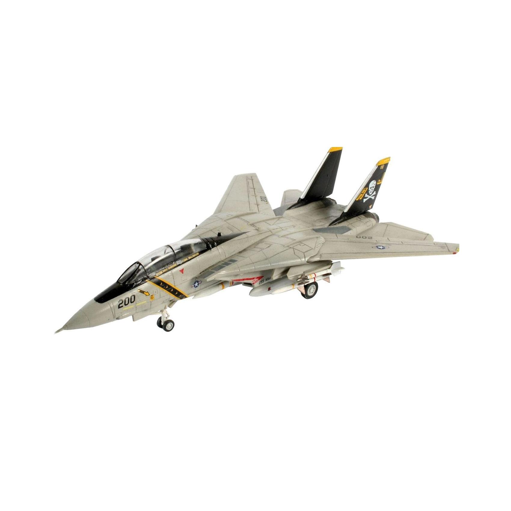 Самолет Истребитель-Перехватчик «Томкэт», RevellСамолет Истребитель-Перехватчик «Томкэт», Revell (Ревелл) – максимально детализированная модель станет украшением комнаты.<br>F-14A Tomcat (Томкэт) - американский двухместный реактивный истребитель-перехватчик четвёртого поколения с изменяемой геометрией крыла. Самолет был разработан в 1970-х для замены истребителя F-4. Модификация F-14A является двухместным всепогодным истребителем-перехватчиком. Кроме того в состав вооружения были добавлены высокоточные боеприпасы. Всего на вооружение ВМС США было поставлено 545 таких самолётов. С 2006 года F-14 снят с вооружения. Сборная модель истребителя-перехватчика «Томкэт» от Revell (Ревелл) является абсолютно точной уменьшенной копией своего прототипа. Модель состоит из 49 деталей, которые необходимо собрать, склеить и покрыть краской в соответствии с инструкцией. В наборе также прилагаются клей в удобной упаковке, краски и кисточка. Модель тщательно проработана. Макет самолета имеет детализированную поверхность с внутренней расшивкой, реалистичную кабину пилотов, подвижные детали крыльев с изменяемой геометрией, выдвигающиеся шасси, 2 ракеты Phoenix. 2 ракеты Sidewinder. Разработанная для детей от 10 лет, сборная модель самолета, определённо, принесёт массу положительных эмоций и взрослым любителям моделирования, и коллекционерам военной техники. Моделирование считается одним из наиболее полезных хобби, ведь оно развивает интеллектуальные и инструментальные способности, воображение и конструктивное мышление. Прививает практические навыки работы со схемами и чертежами.<br><br>Дополнительная информация:<br><br>- Возраст: для детей старше 10-и лет<br>- В наборе: комплект пластиковых деталей для сборки модели, декаль для 2 вариантов (VF-84 Jolly Rogers и US Navy), базовые акриловые краски, клей, кисточка, инструкция<br>- Количество деталей: 49 шт.<br>- Масштаб: 1:144<br>- Длина модели: 134 мм.<br>- Размах крыльев: 130 мм.<br>- Уровень сложности: 3 (из 5)<br>- Дополнительно потреб